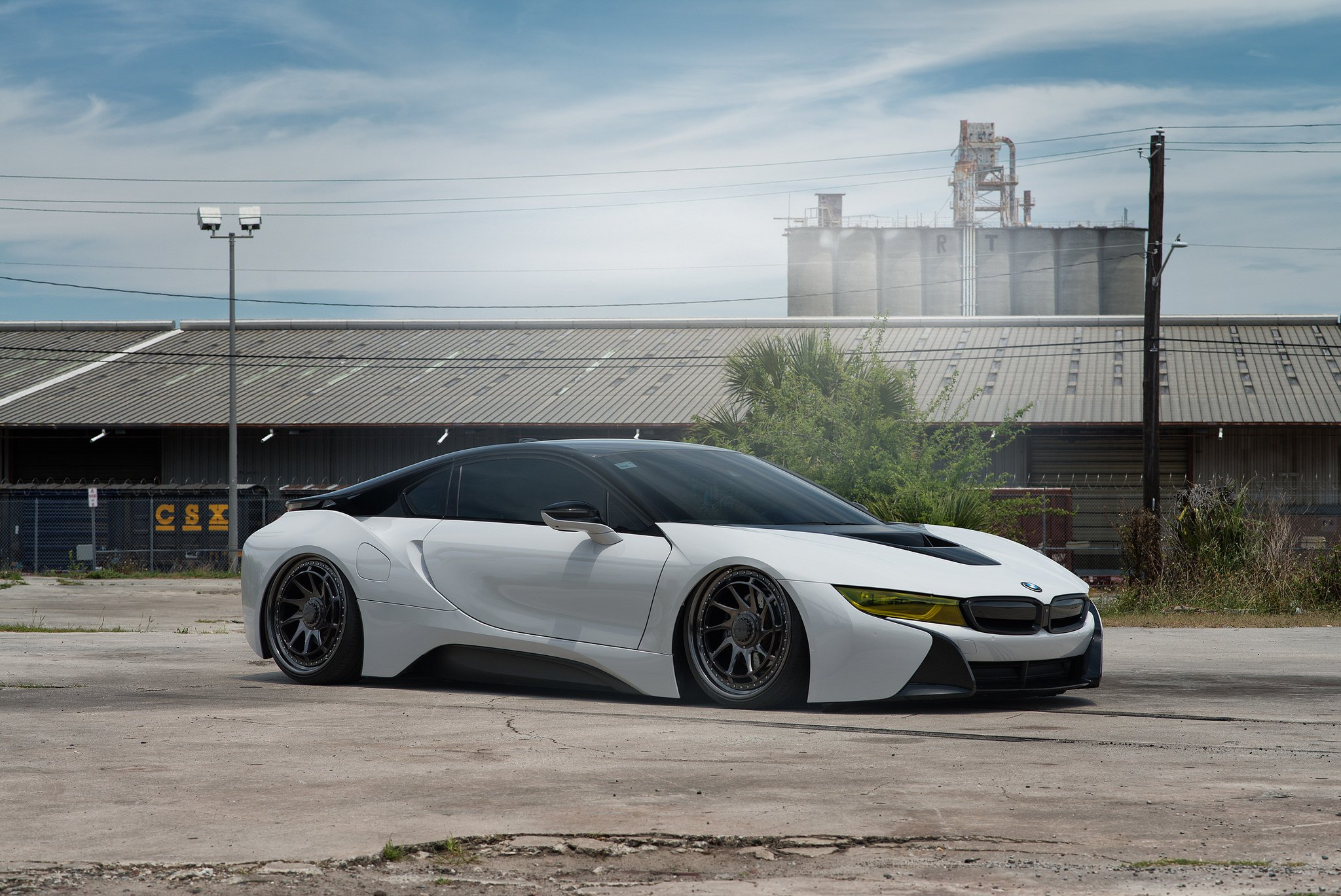 Bmw I8 Slammed To The Ground Featuring Rotiform Gloss Black Wheels