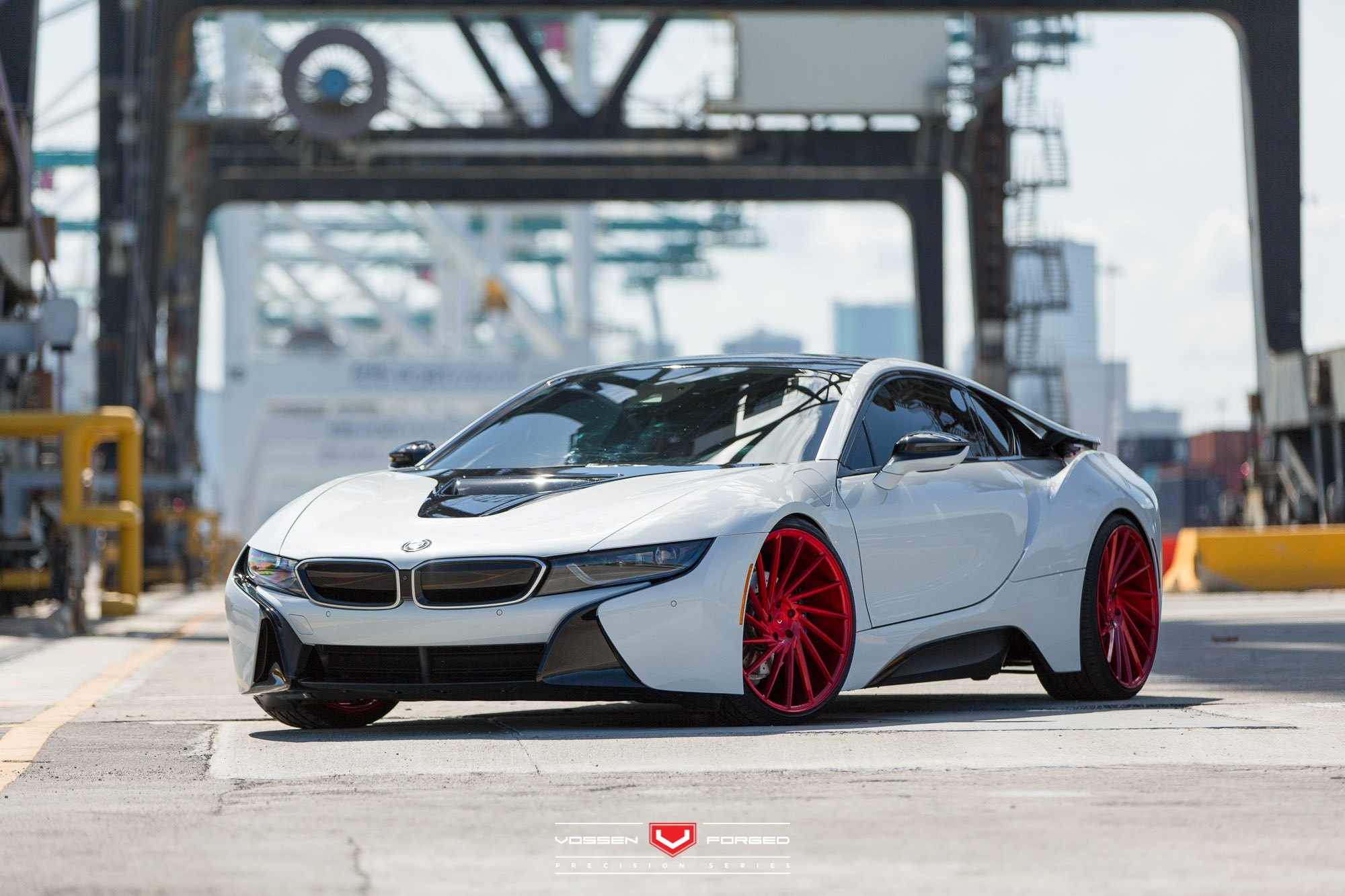 White Pearl Futuristic Bmw I8 On Red Forged Custom Wheels Carid