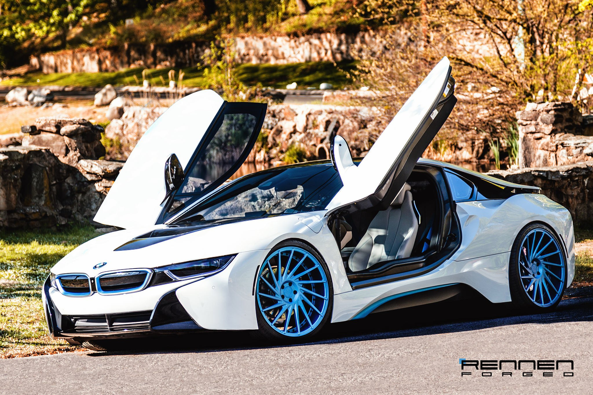 Revolutionary Machine White Bmw I8 On Blue Forged Rennen Wheels