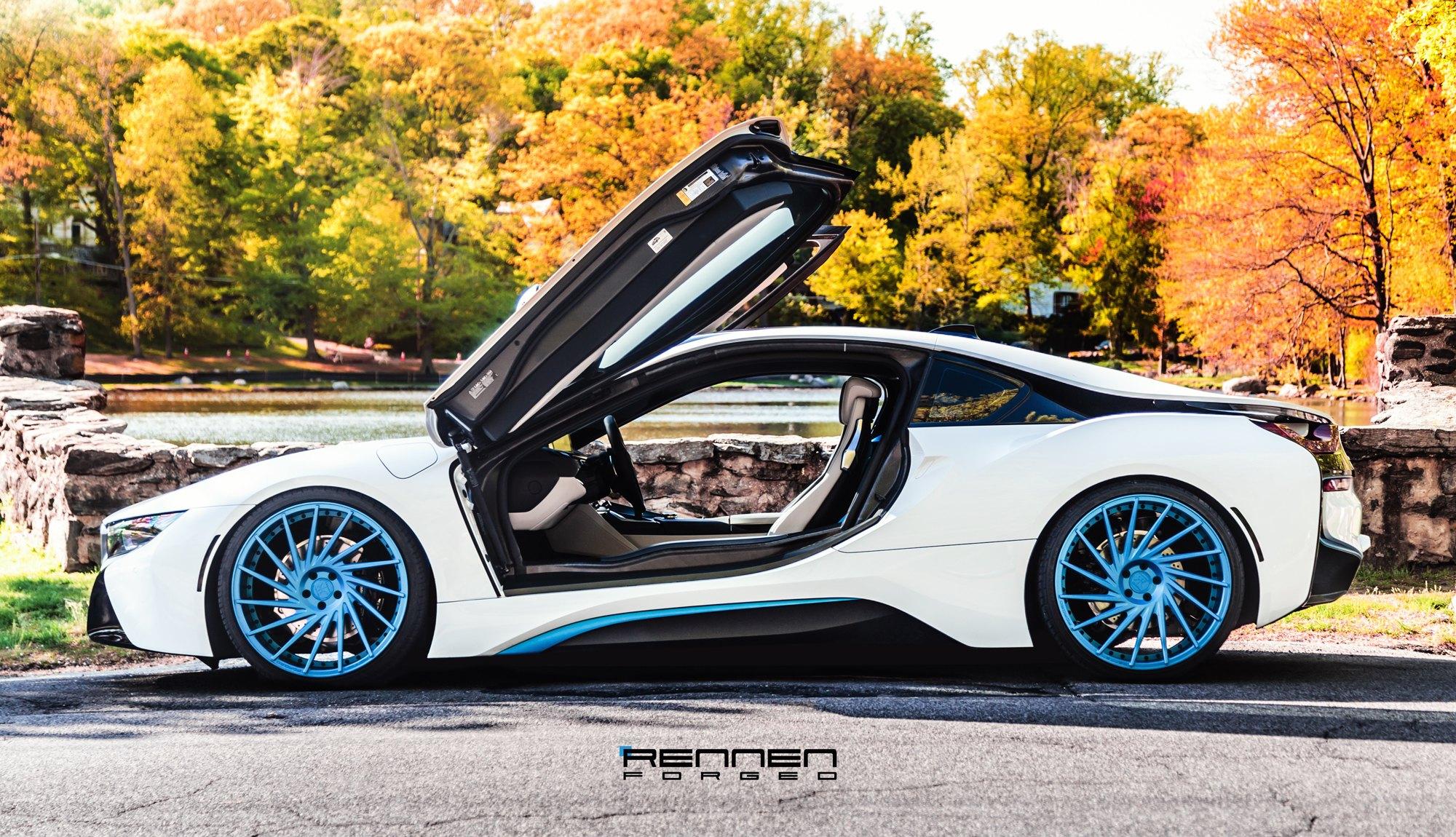 Revolutionary Machine White Bmw I8 On Blue Forged Rennen Wheels