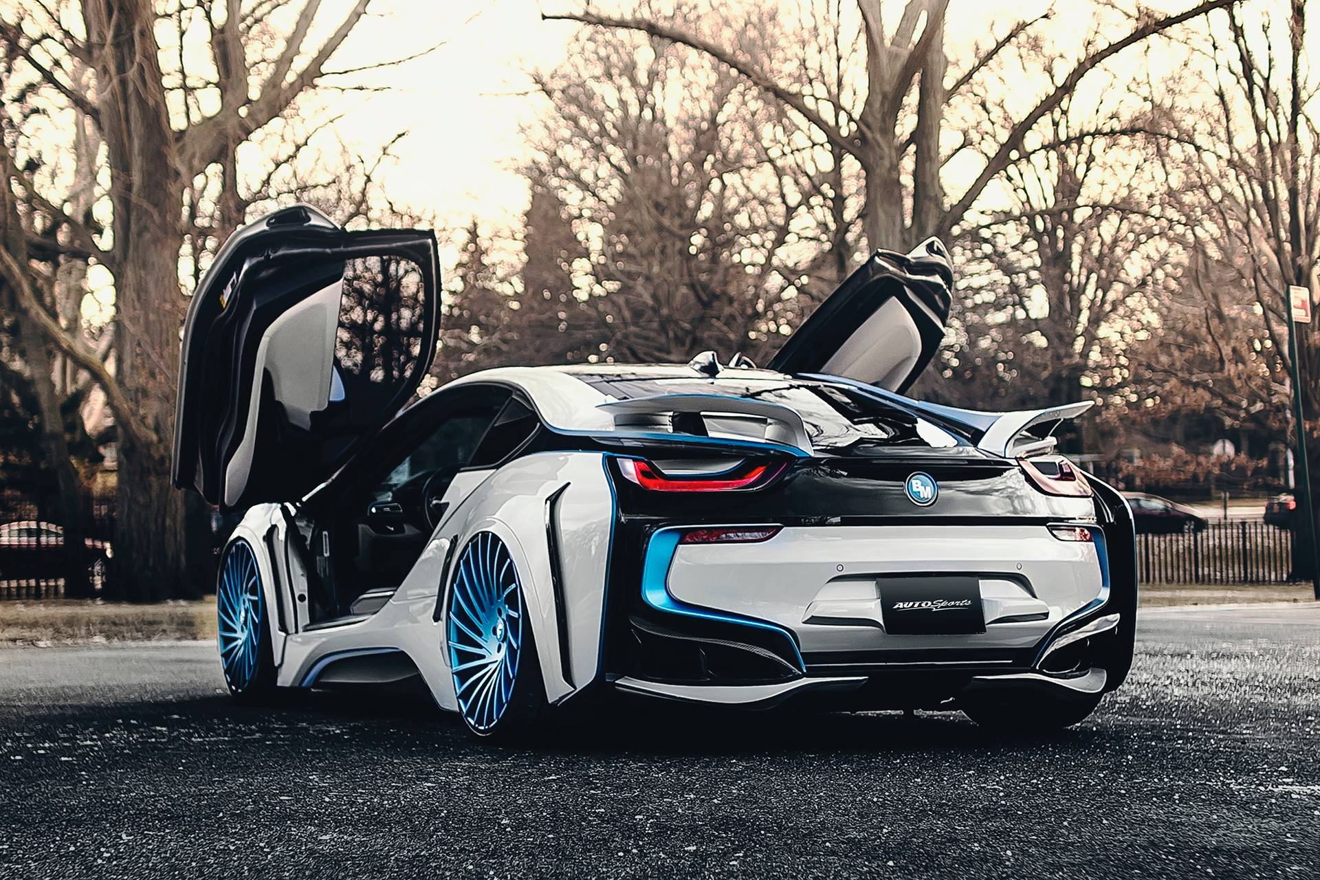 Spaceship In The Form Of The Car Custom White Bmw I8 With Blue