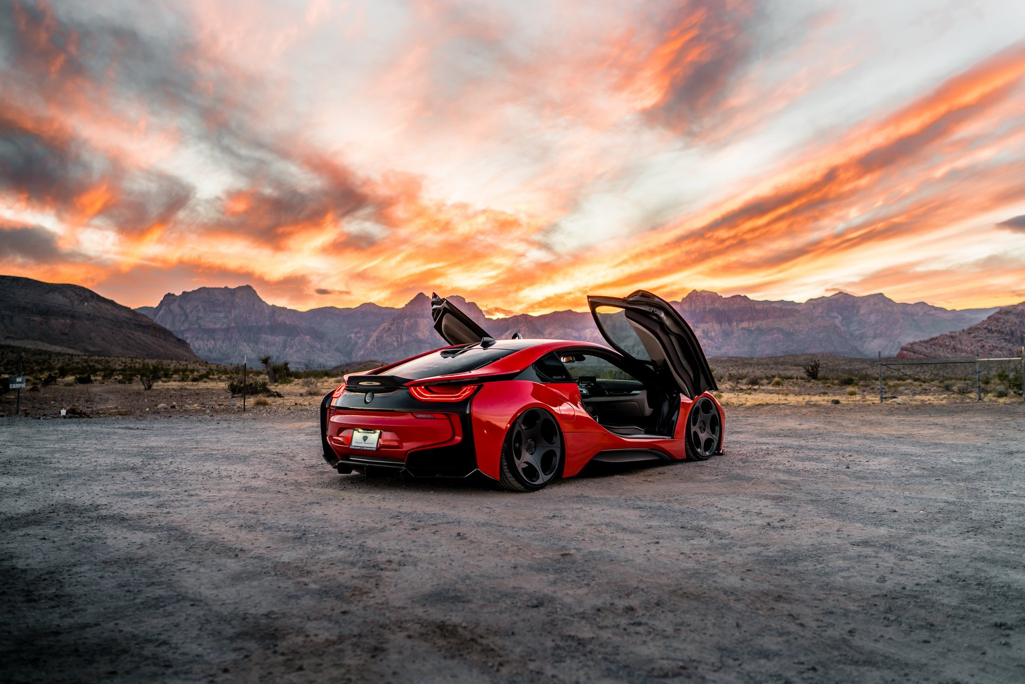 Red BMW I8 With Vertical Doors