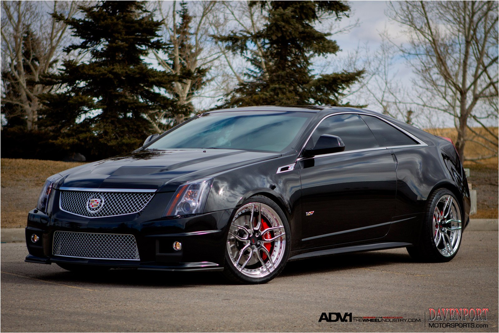 Mirror Polished Modular Adv1 Rims On Black Cadillac Cts V