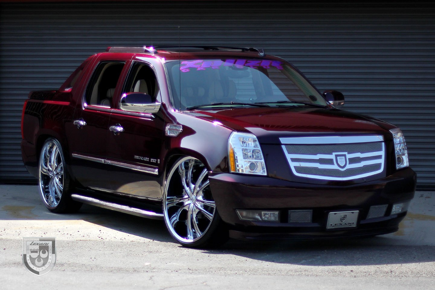 Burgundy Cadillac Escalade On Custom Lexani Wheels Photo By