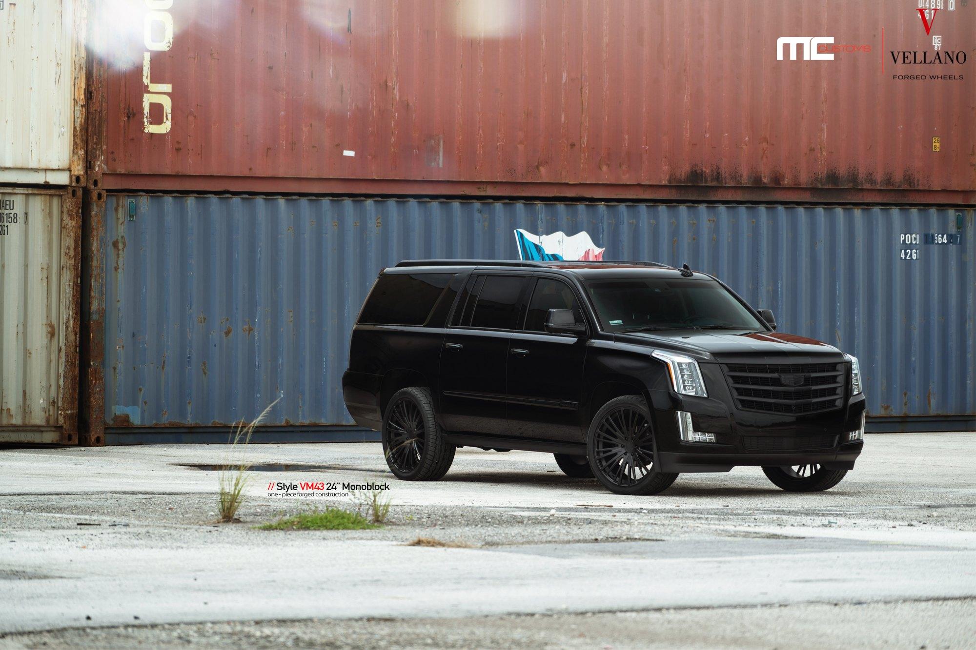 Black Cadillac Escalade With Crystal Clear LED Headlights