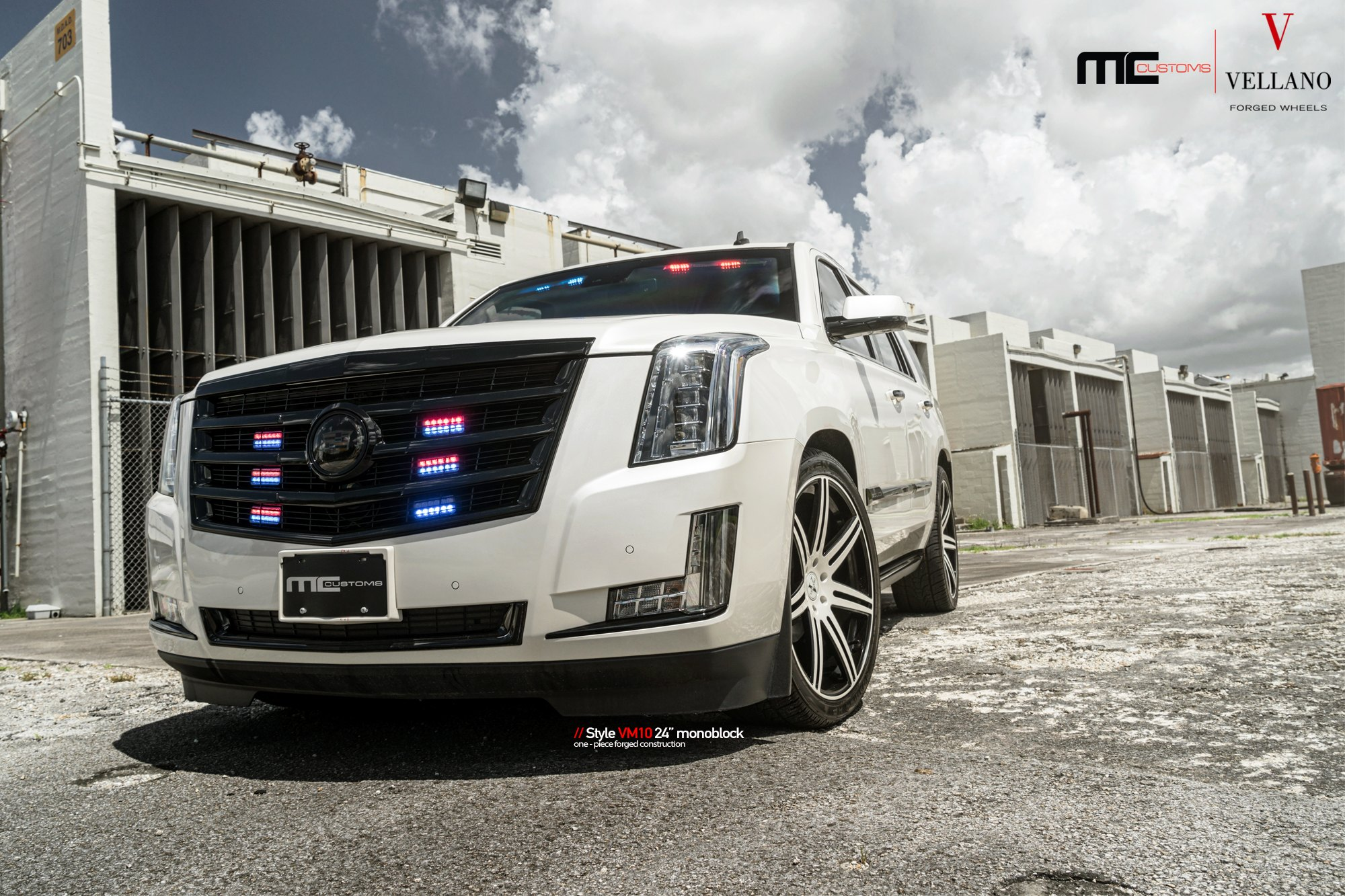 Vip Face Gloss Black Custom Grille On White Cadillac Escalade