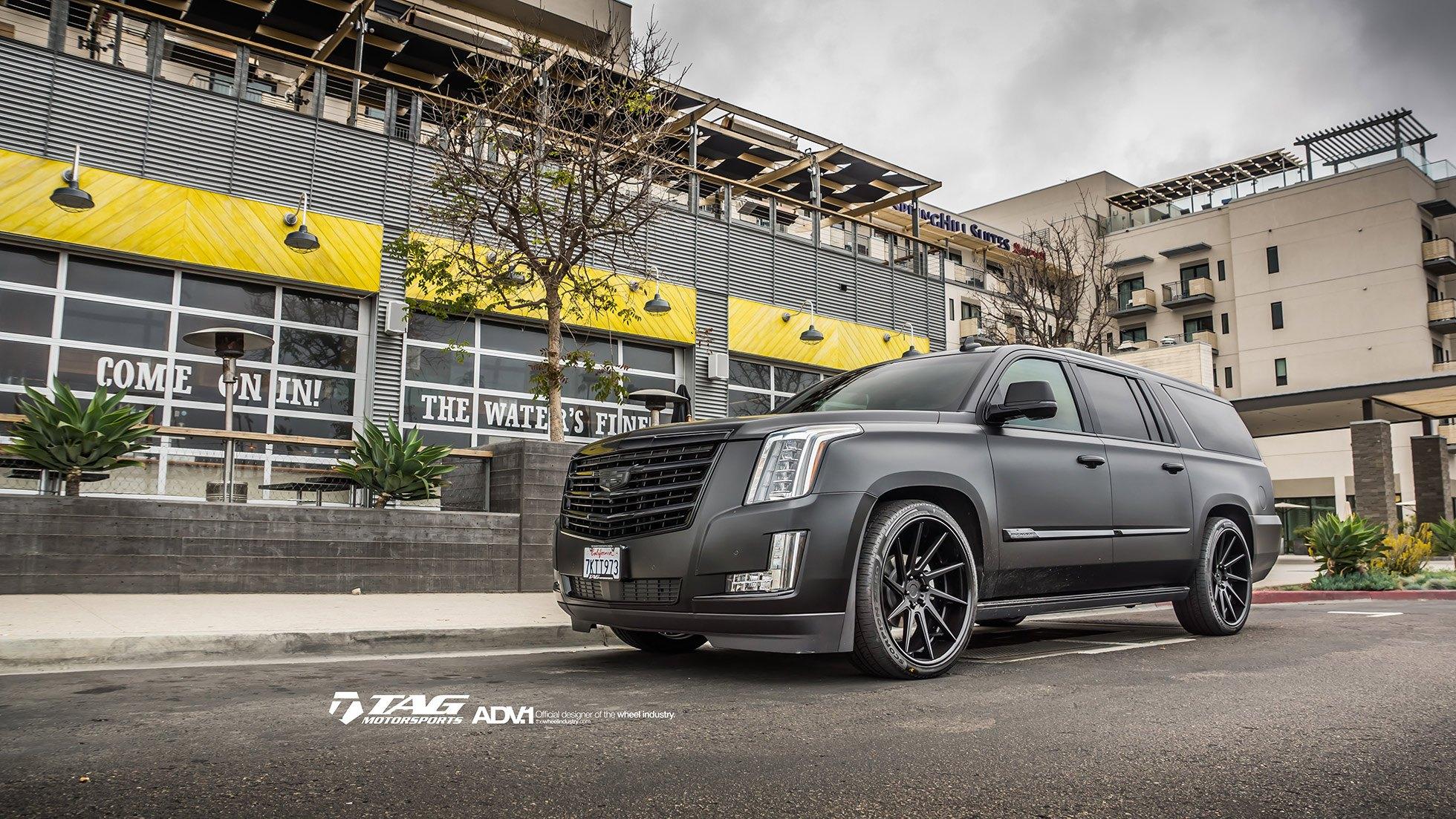 Cadillac Escalade ESV lowered on ADV.1 Custom Wheels ...