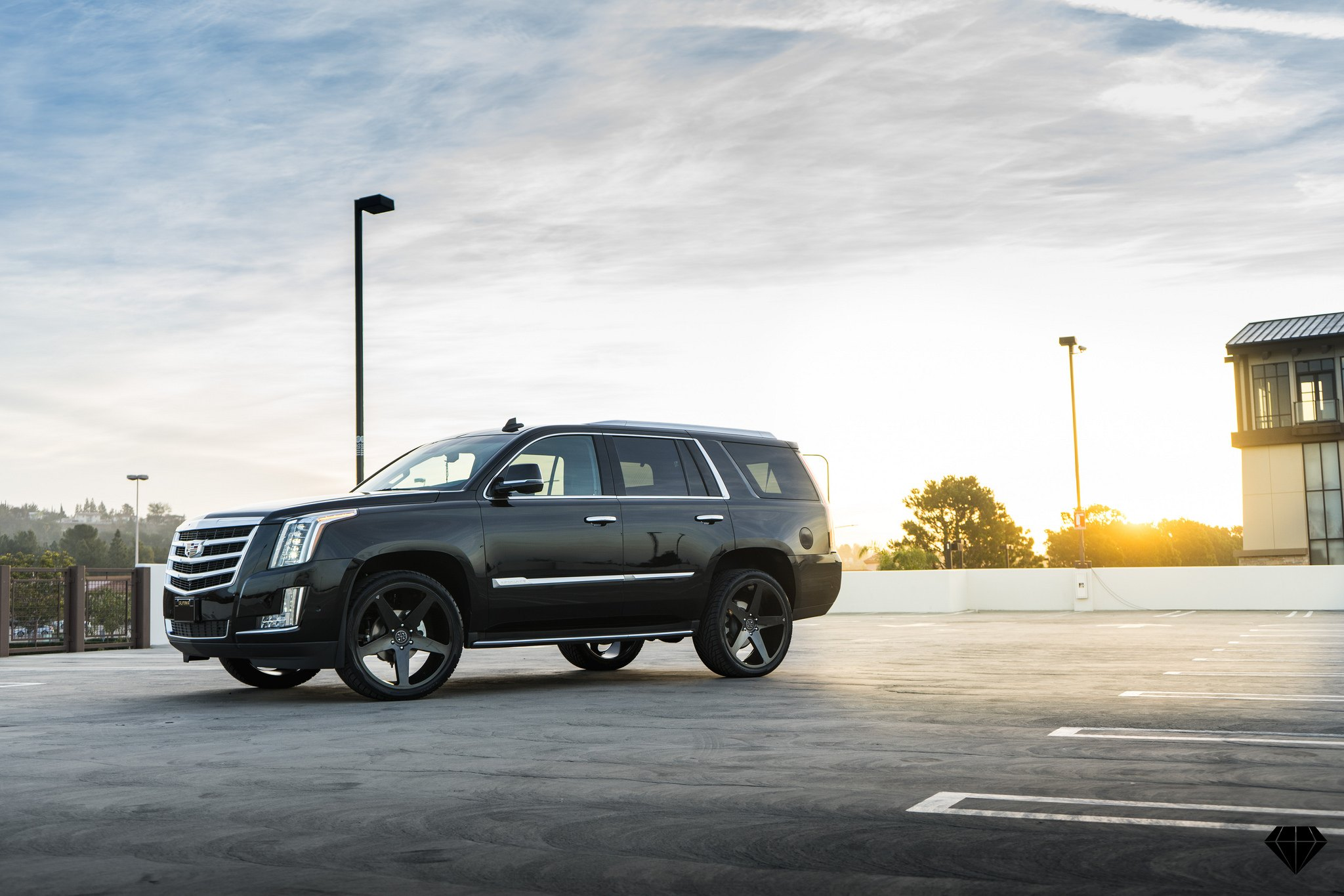 Vip Appearance Of Black Cadillac Escalade Emphasized With Custom
