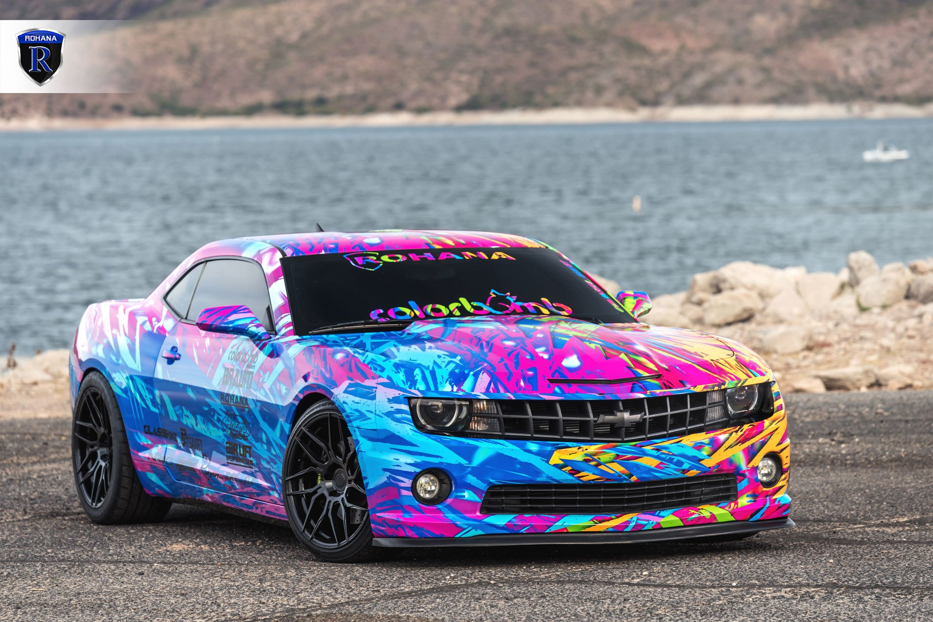 Front Bumper with Fog Lights on Colorful Chevy Camaro - Photo by Rohana Wheels
