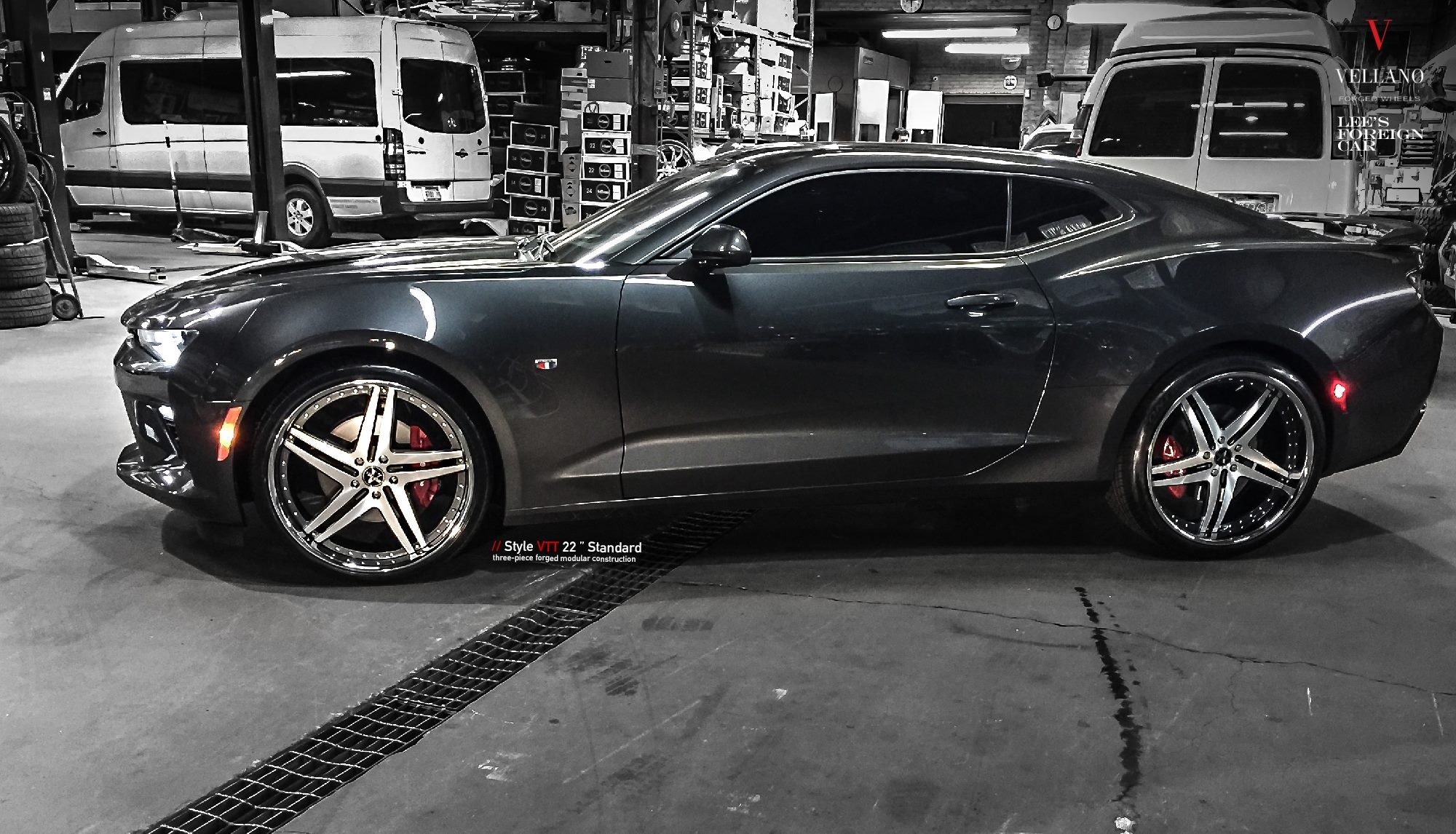 Black Chevy Camaro SS with Chrome 22 Inch Vellano Rims - Photo by Vellano