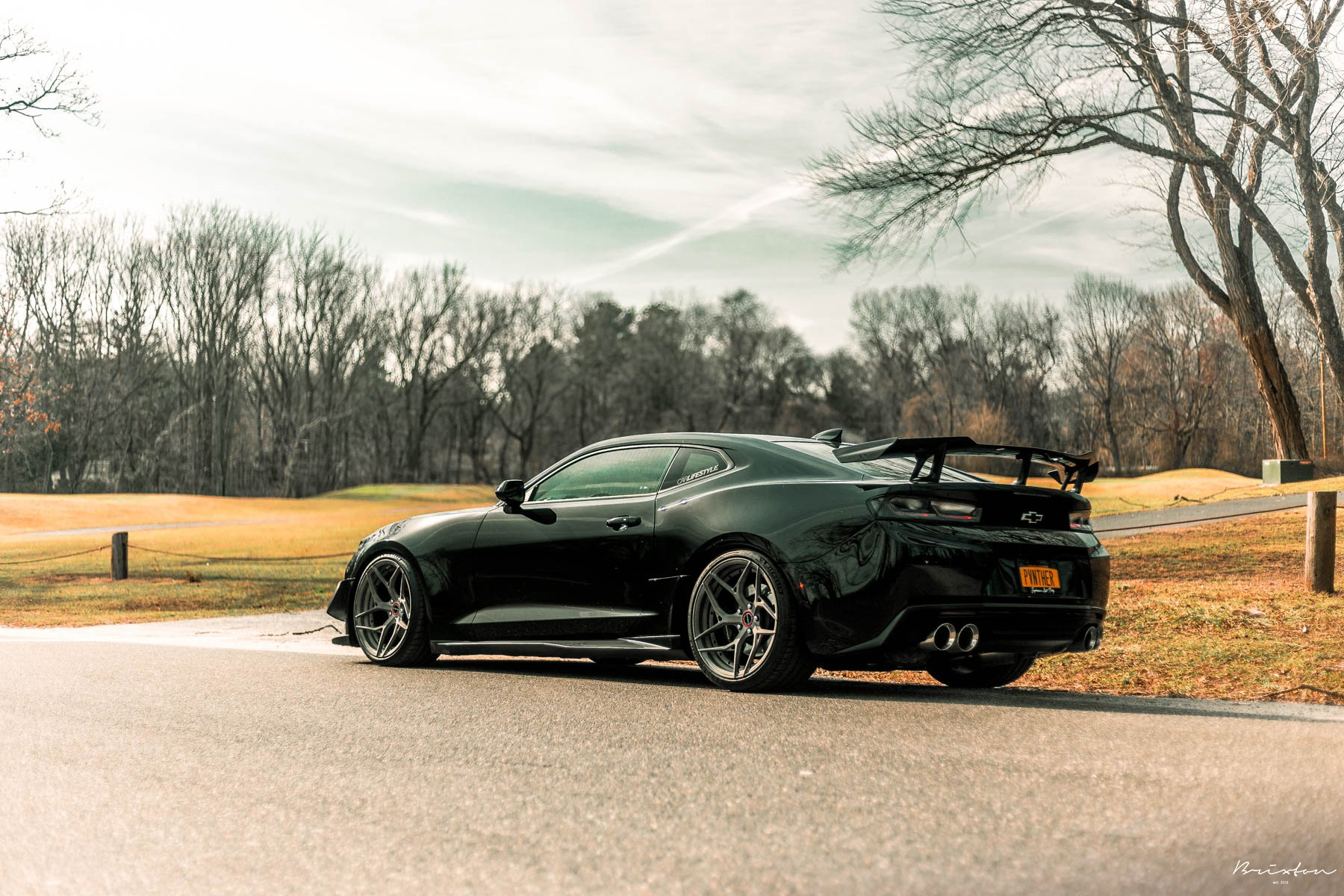 Black Chevy Camaro with Custom Style Wing Spoiler - Photo by Brixton Forged Wheels