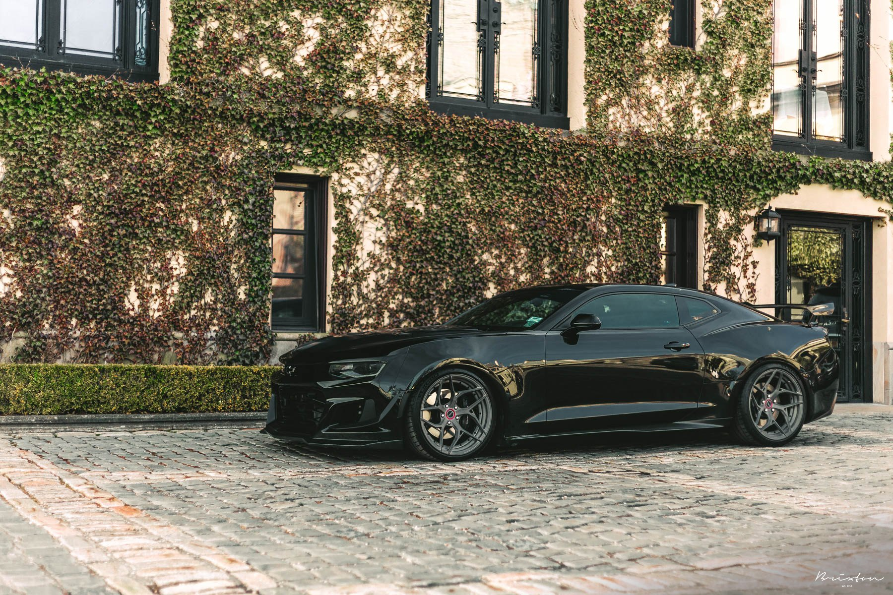 Graphite Brixton Forged Wheels on Black Chevy Camaro - Photo by Brixton Forged Wheels