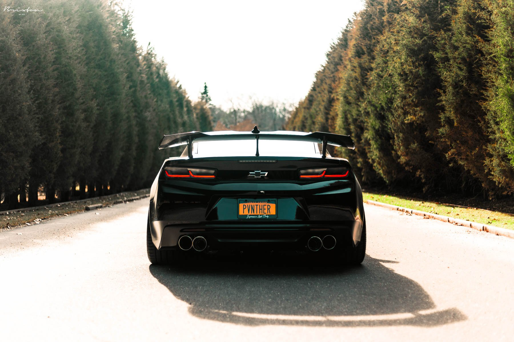 Aftermarket Taillights on Black Chevy Camaro - Photo by Brixton Forged Wheels