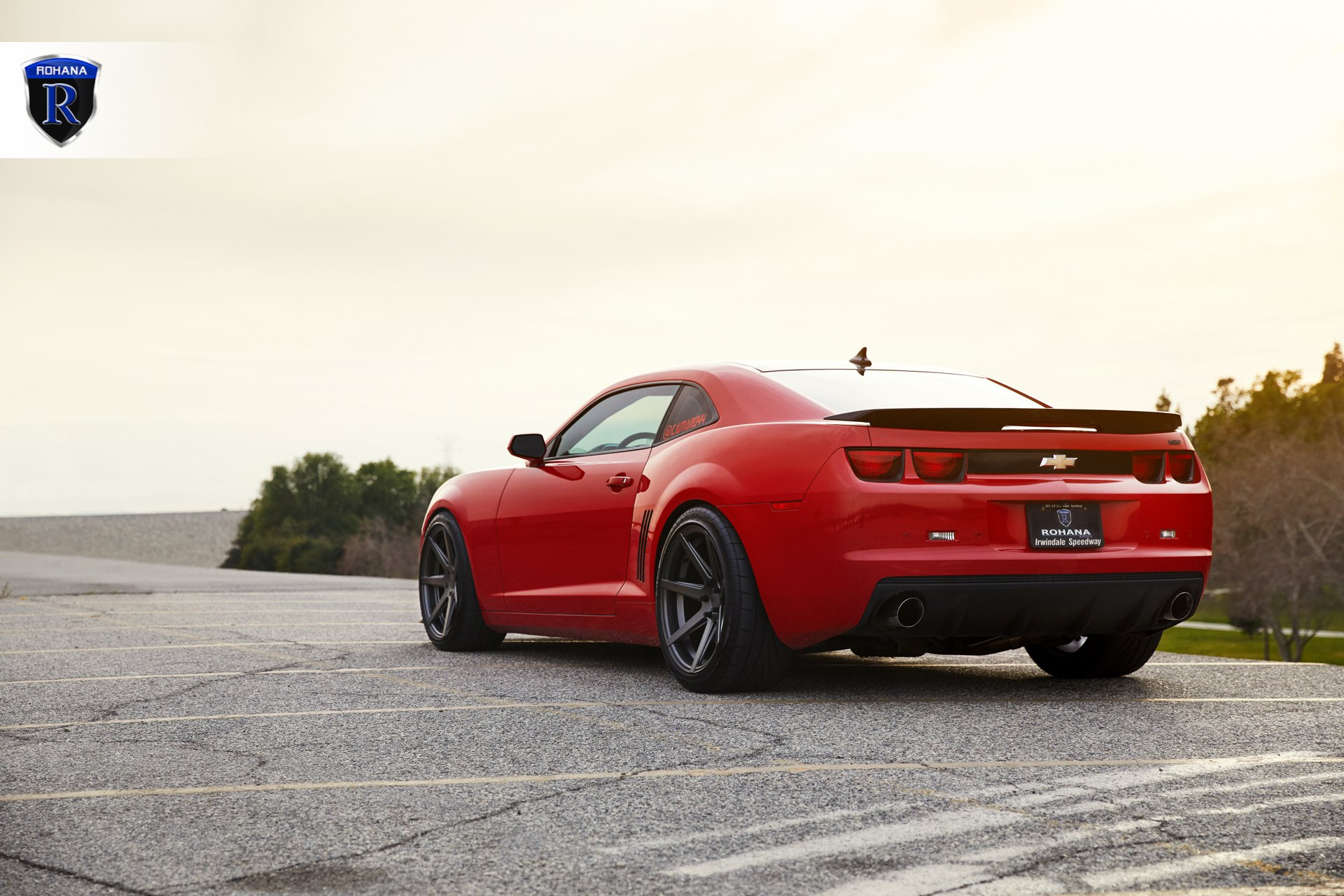 Red Chevy Camaro with Custom Style Rear Spoiler - Photo by Rohana Wheels