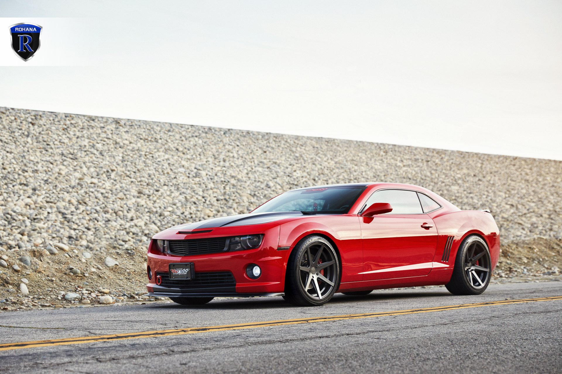 Aftermarket Hood on Red Chevy Camaro - Photo by Rohana Wheels