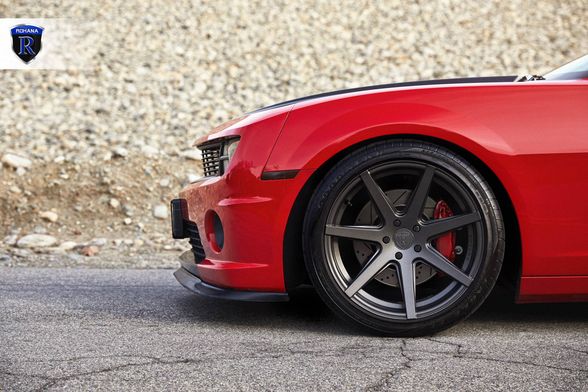 Goodyear Tires on Custom Red Chevy Camaro - Photo by Rohana Wheels