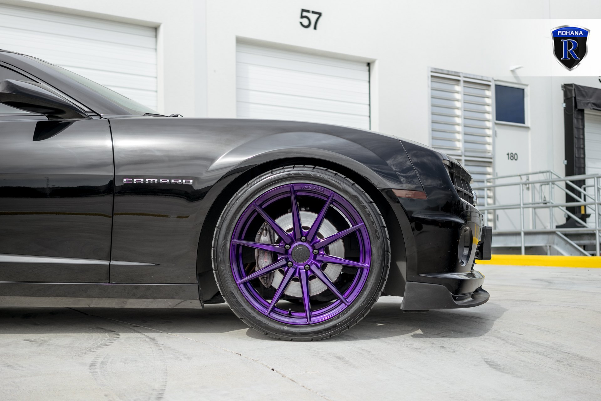 Custom Purple Rohana Rims on Black Chevy Camaro - Photo by Rohana Wheels