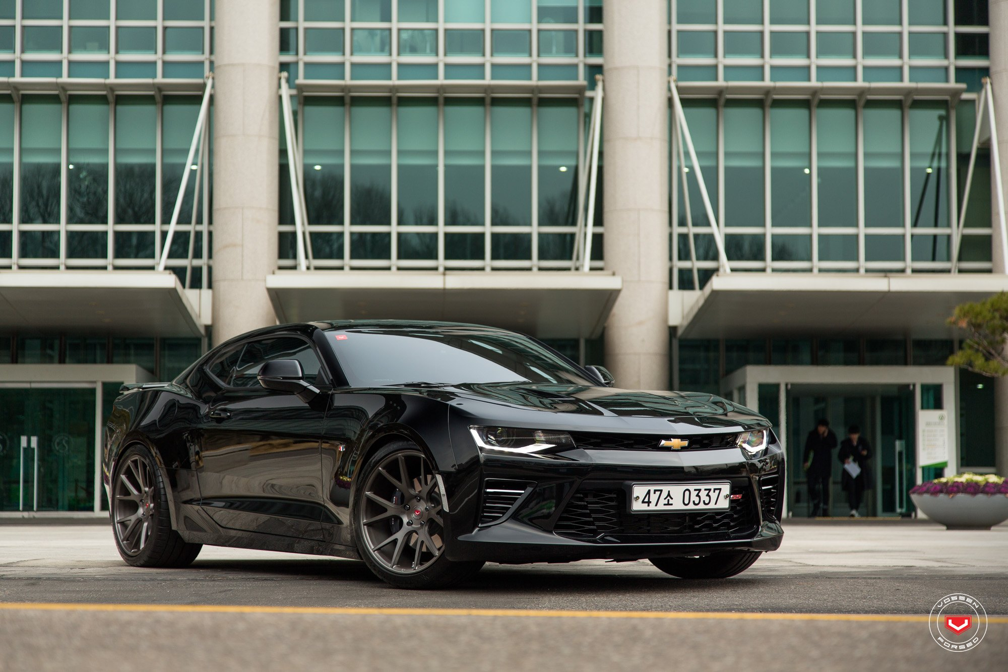 Black Chevy Camaro SS with Aftermarket Front Bumper - Photo by Vossen