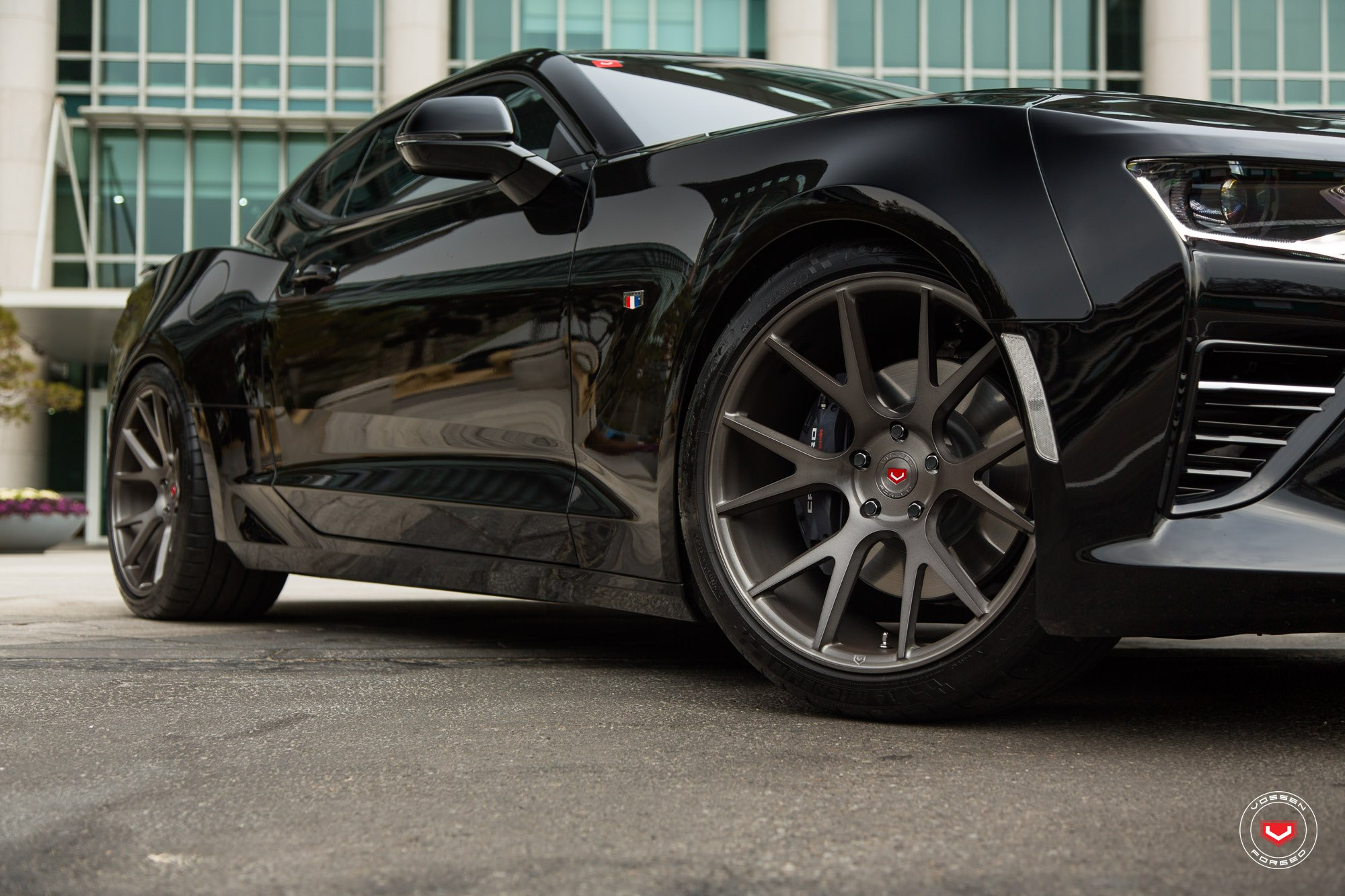 Dark Smoke Vossen Wheels on Black Chevy Camaro - Photo by Vossen