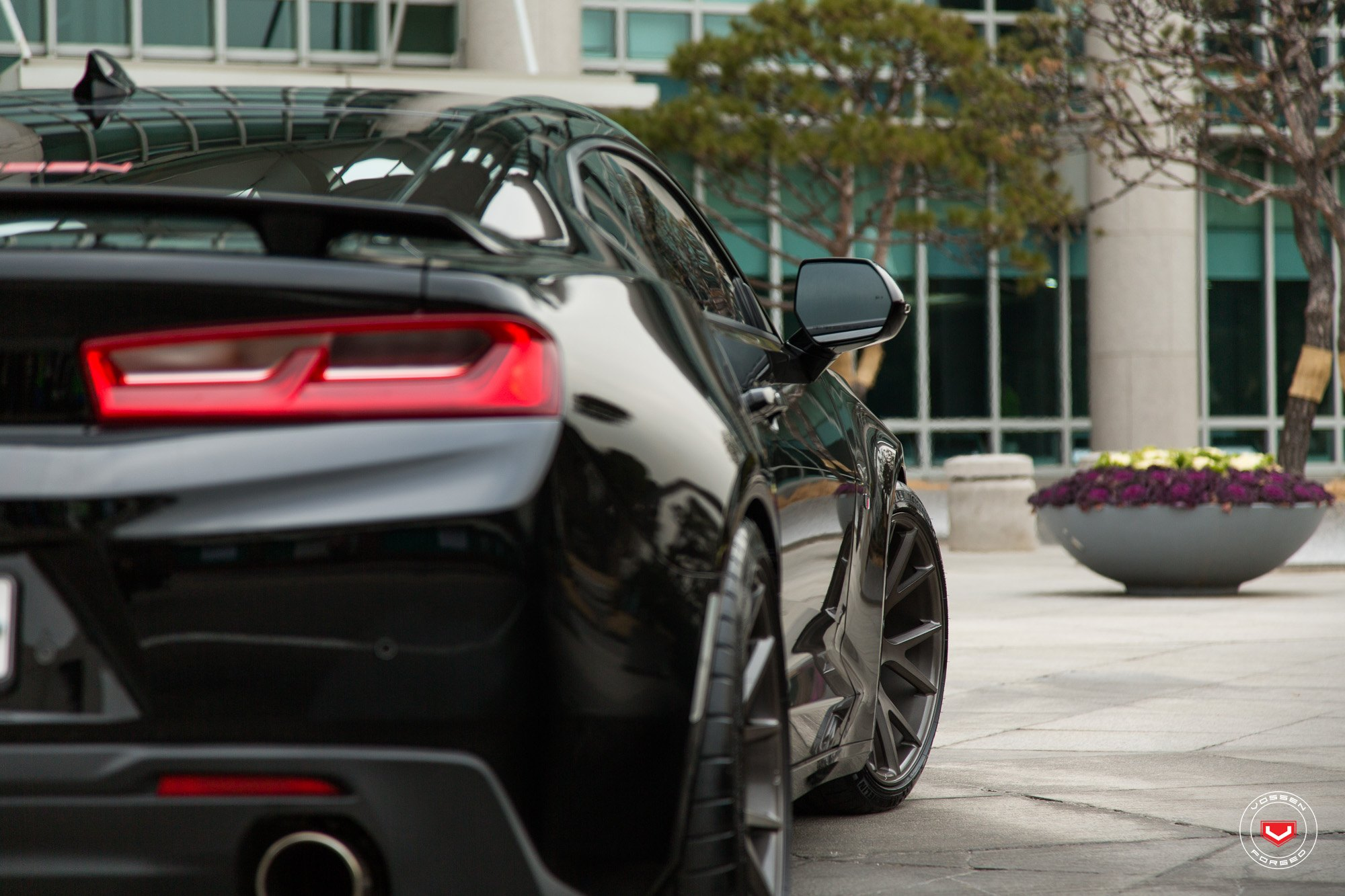 Black Chevy Camaro SS with Custom Red Taillights - Photo by Vossen