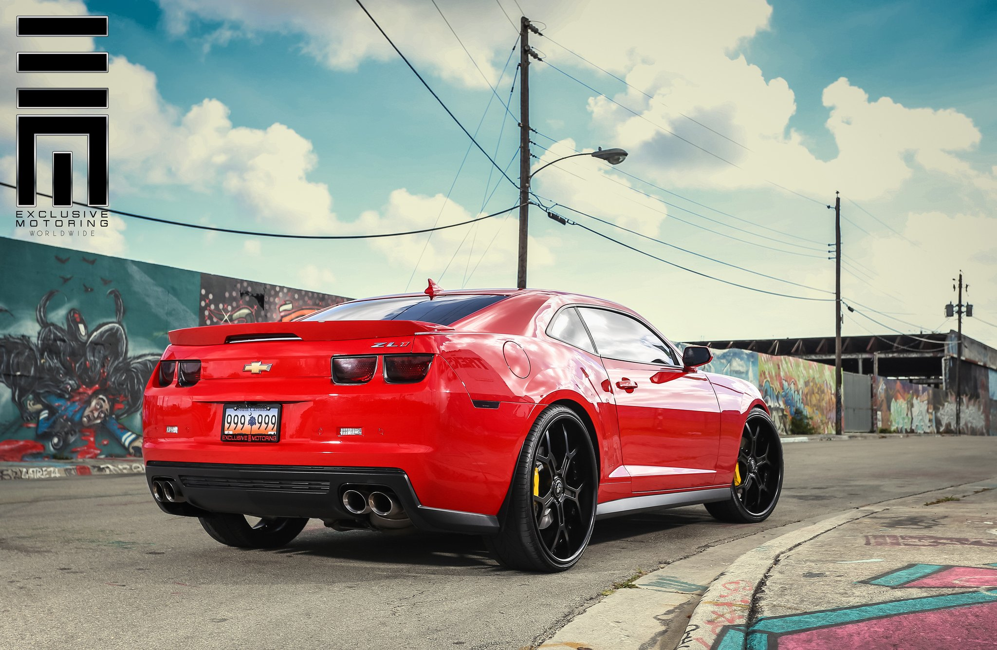 Red Chevy Camaro ZL1 on Black Custom Wheels by Exclusive