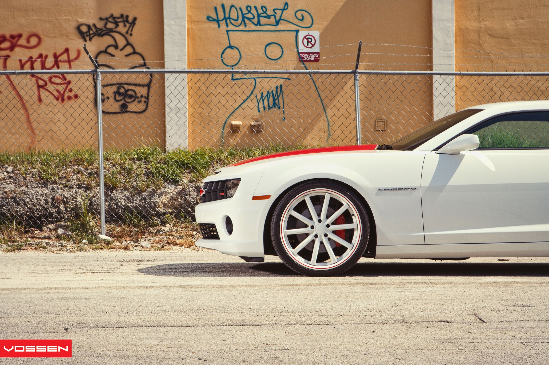 Custom White Rims with Red Brakes on Chevy Camaro - Photo by Vossen
