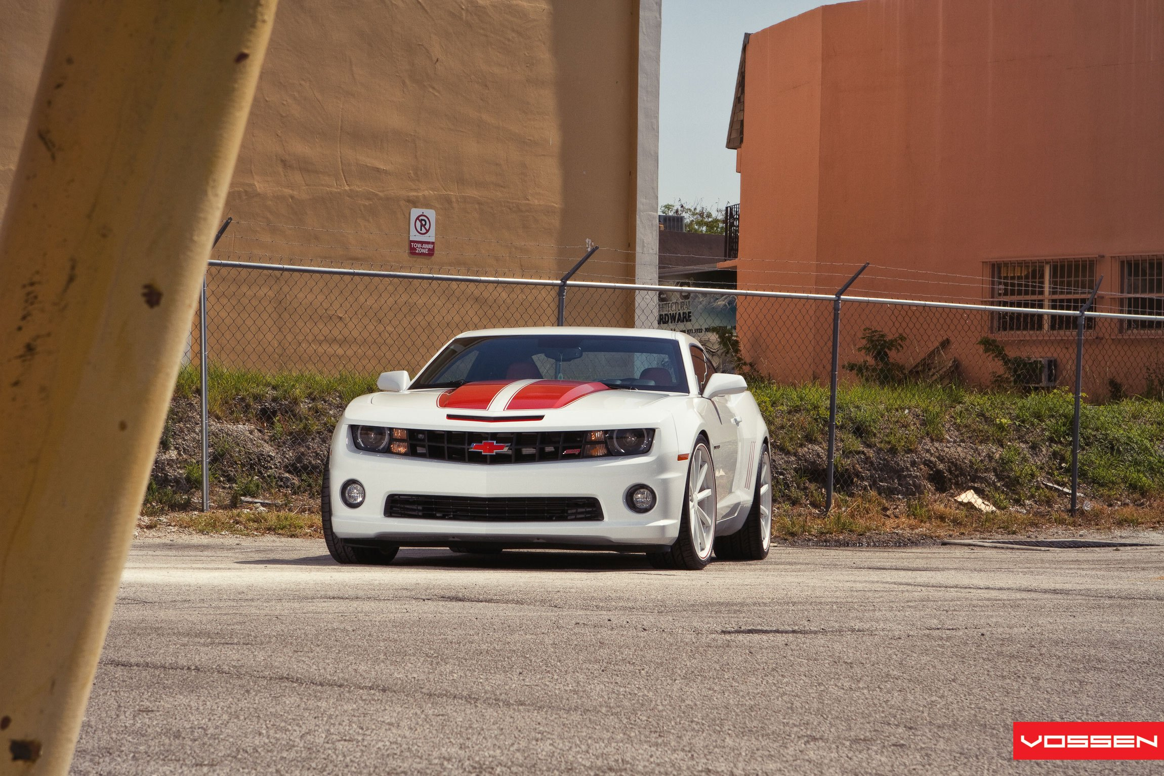White Chevy Camaro SS with Aftermarket Hood - Photo by Vossen