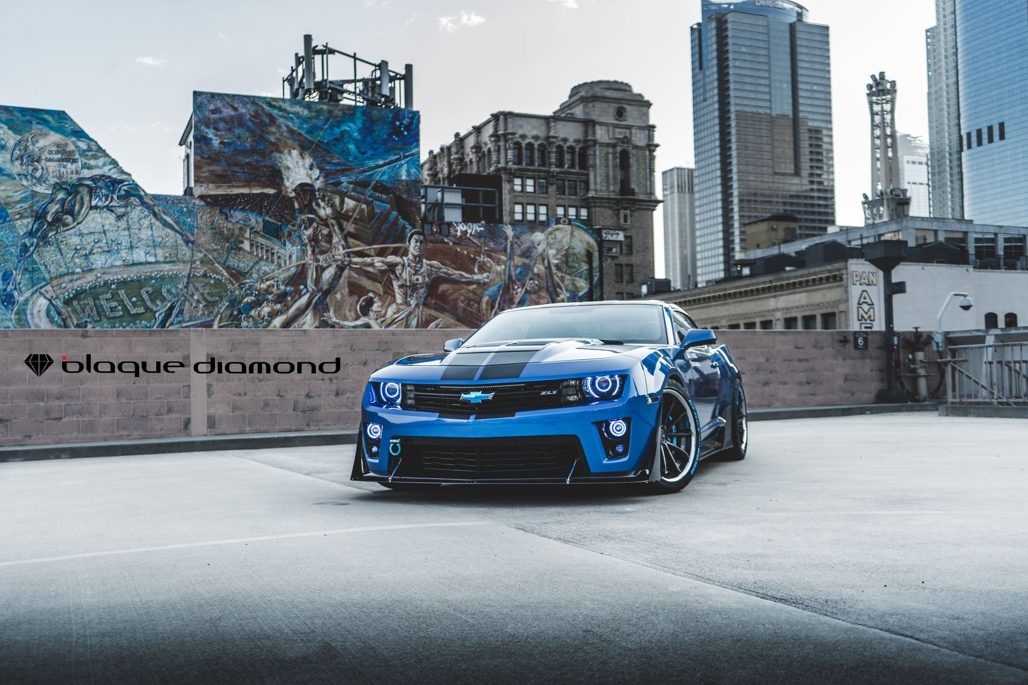 Aftermarket Front Lip on Blue Chevy Camaro - Photo by Blaque Diamond