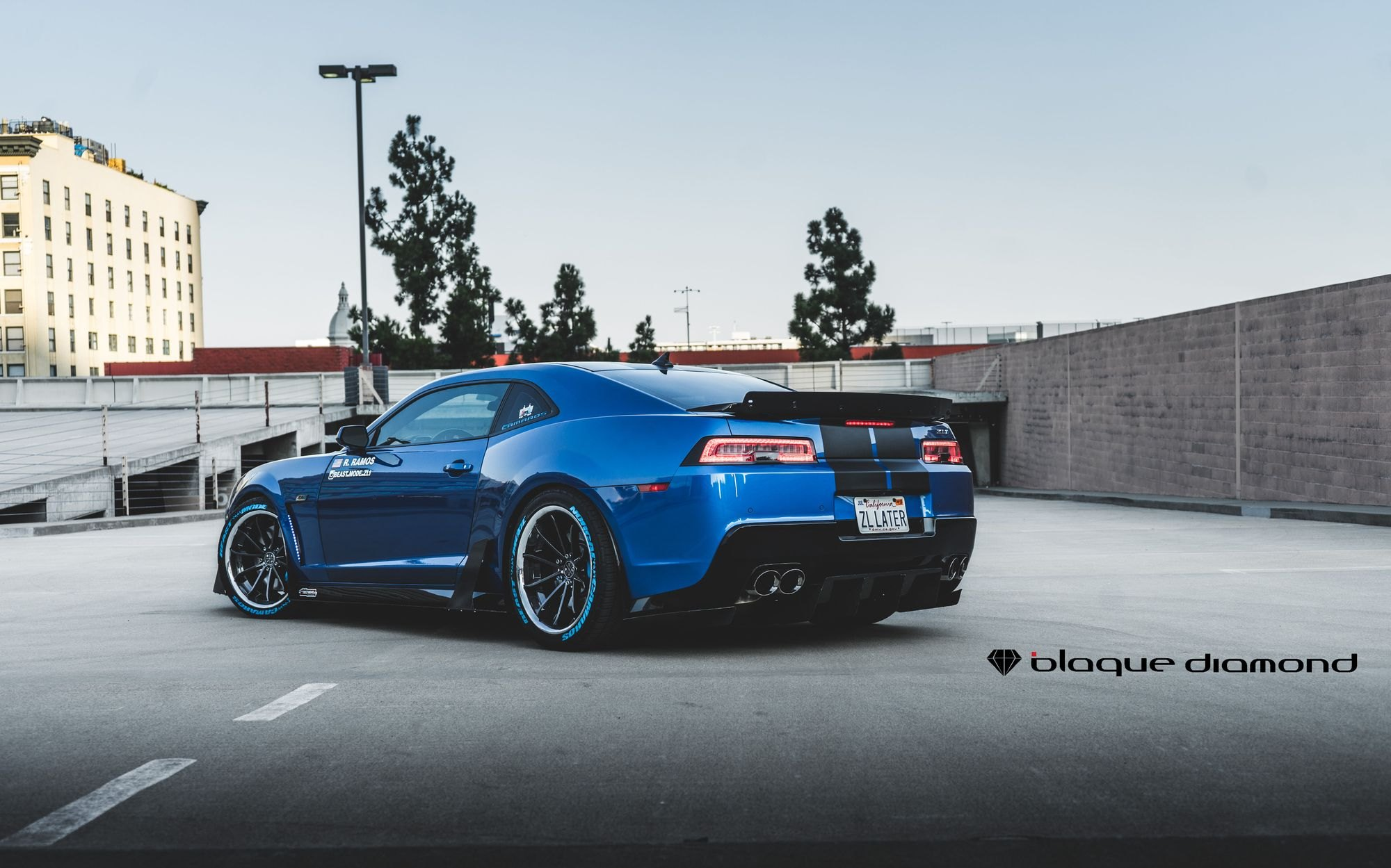 Blue Chevy Camaro ZL1 with Custom Style Rear Spoiler - Photo by Blaque Diamond
