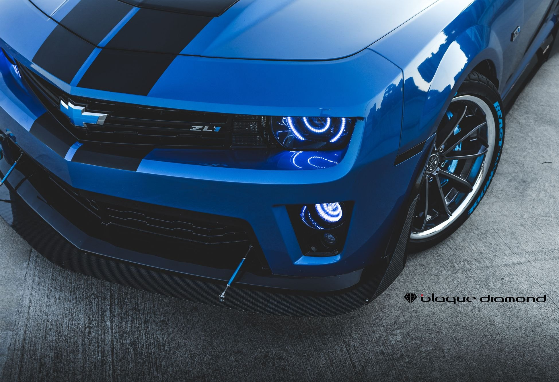 Blue Chevy Camaro with Aftermarket LED Headlights - Photo by Blaque Diamond