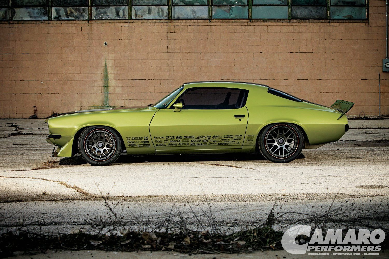 Superb Green Debadged Camaro Sporting Gunmetal Forgeline