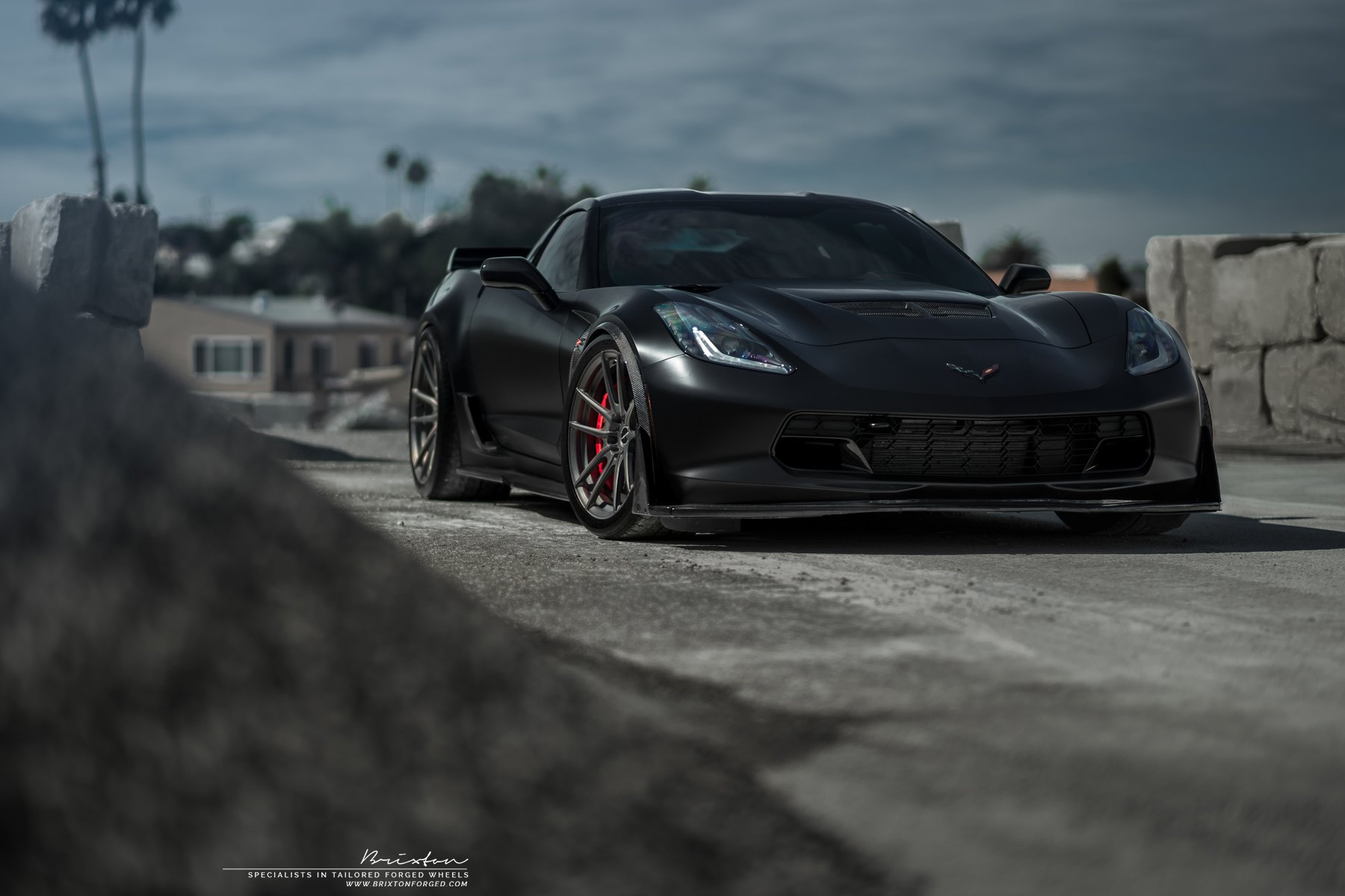 Carbon Fiber Front Lip on Black Chevy Corvette - Photo by Brixton Forged Wheels