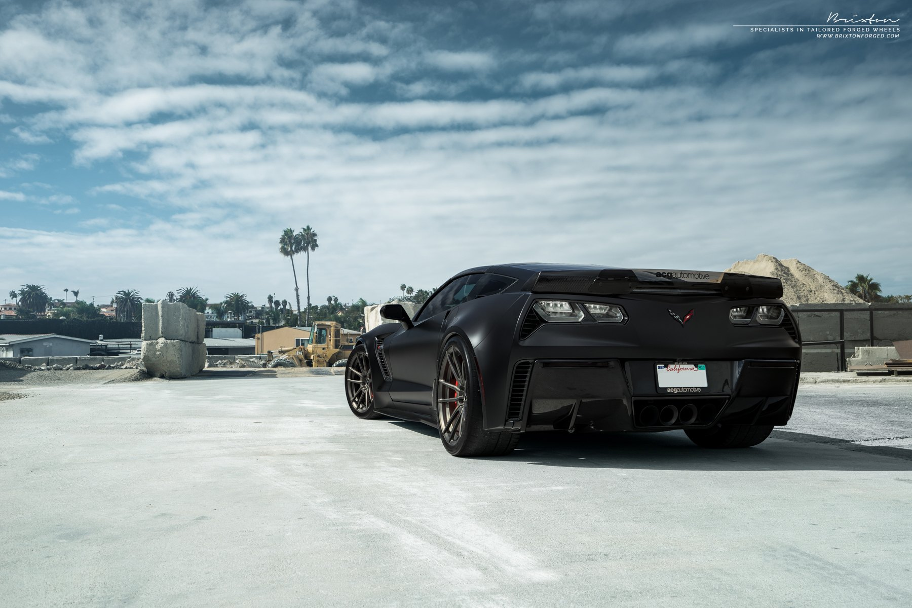 Black Chevy Corvette Z06 with Custom LED Taillights - Photo by Brixton Forged Wheels