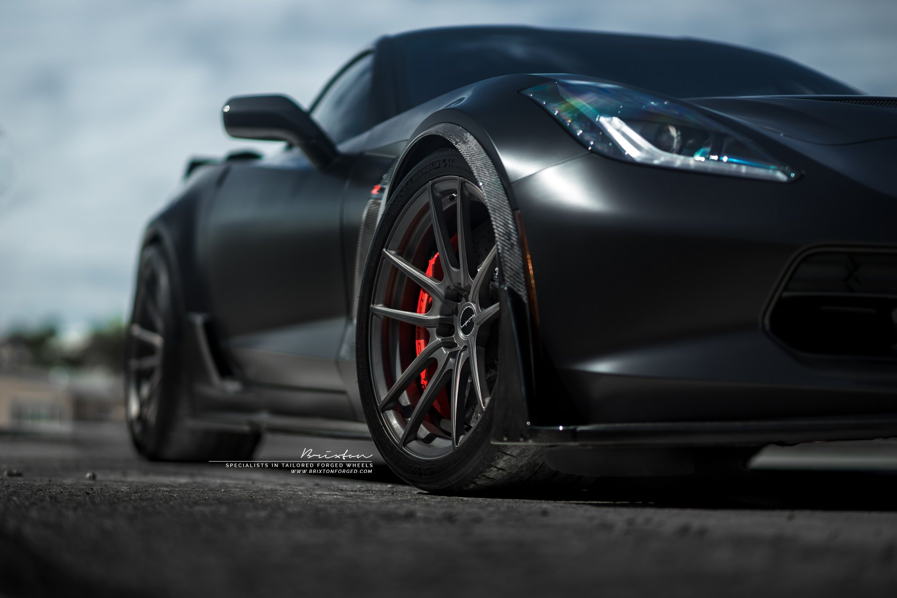 Smoke Black Brixton Forged Wheels on Chevy Corvette - Photo by Brixton Forged Wheels