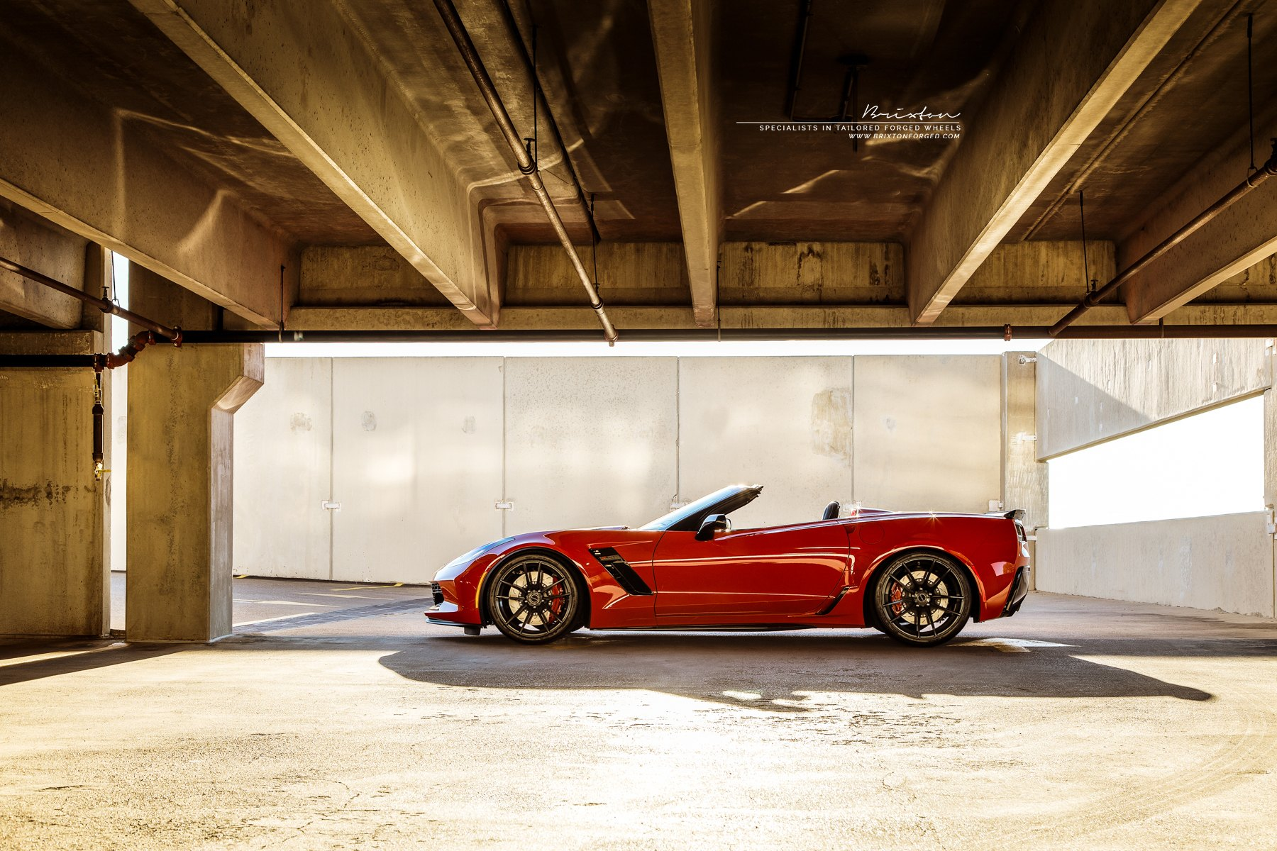 Custom Red Convertible Chevy Corvette Side Skirts - Photo by Brixton Forged Wheels