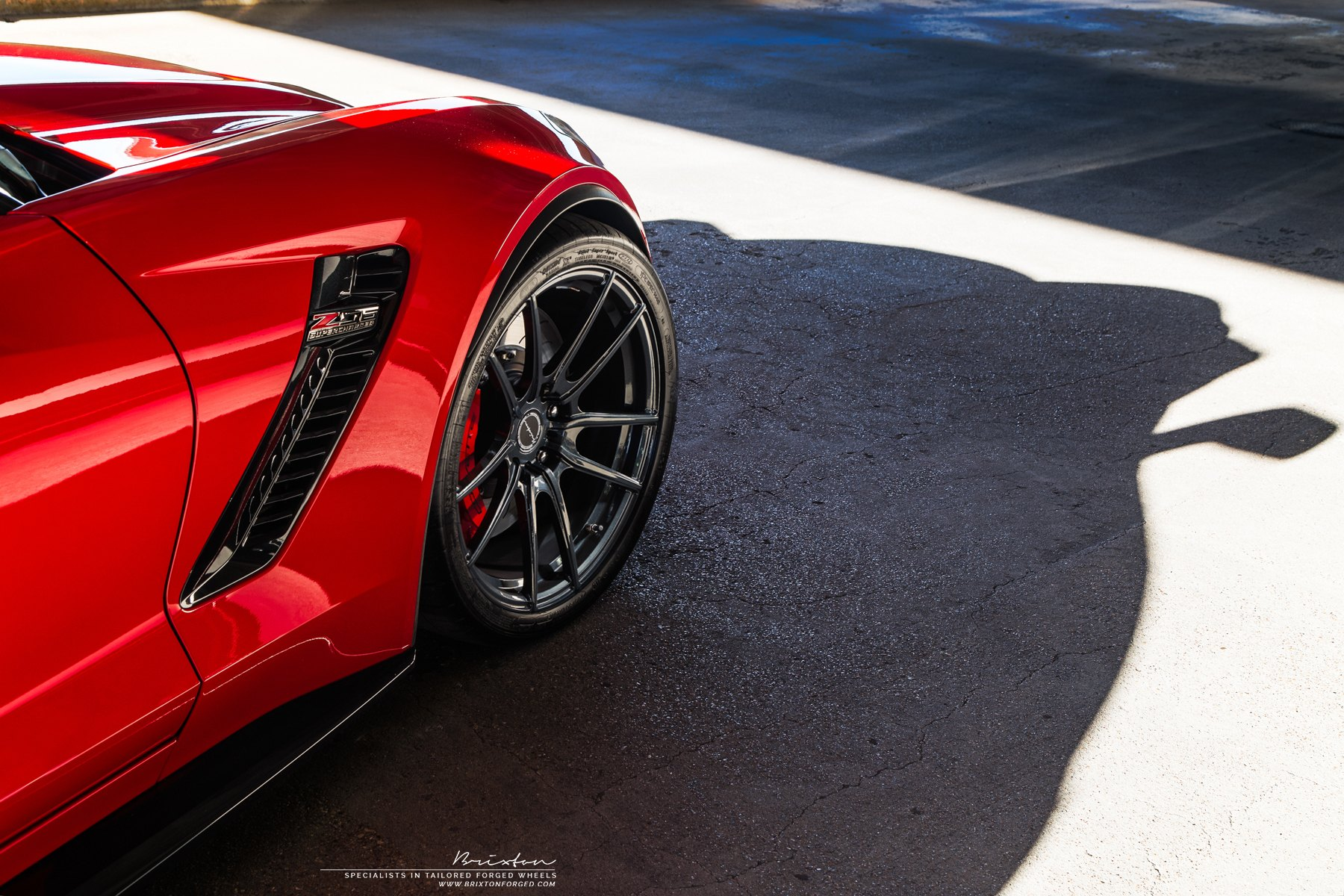 Red Chevy Corvette Z06 with Brixton Forged Wheels - Photo by Brixton Forged Wheels