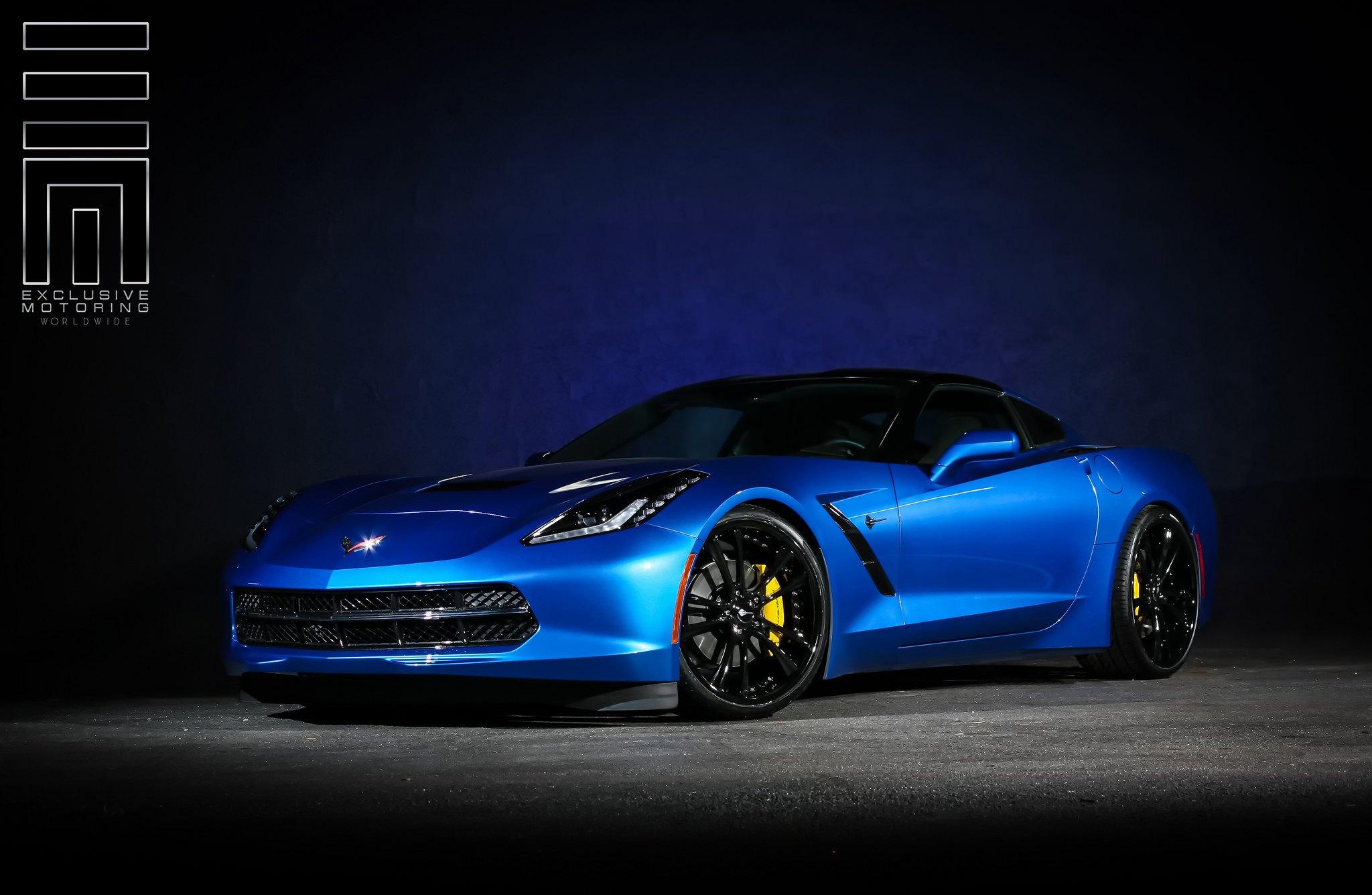 Electric Blue Corvette C7 On Black Rims Photo By Exclusive Motoring