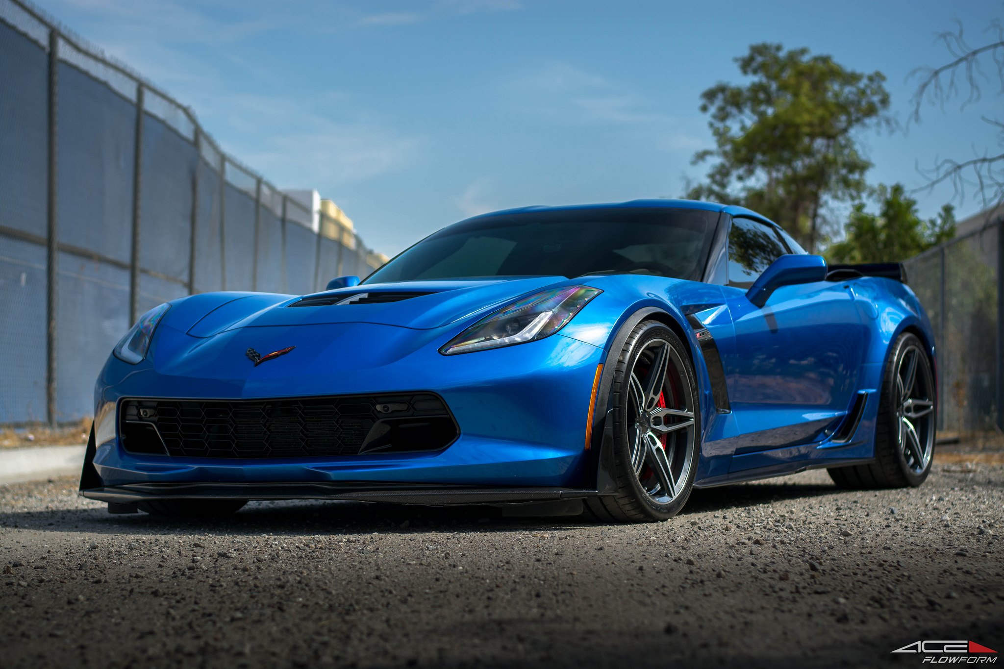 Blue Chevy Corvette With Custom Vented Hood Photo By Ace Alloy