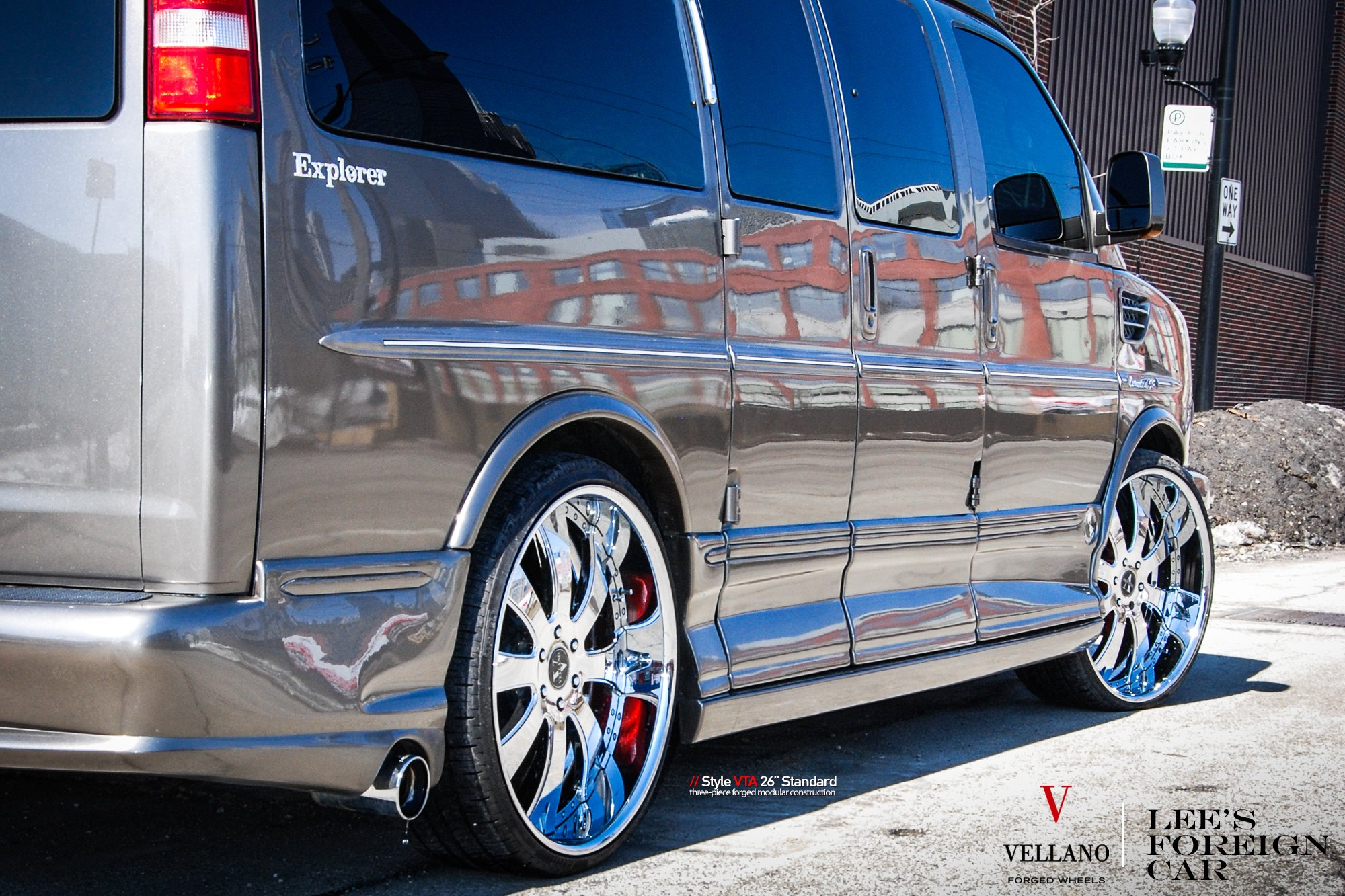 Aftermarket Side Skirts On Gray Chevy Express