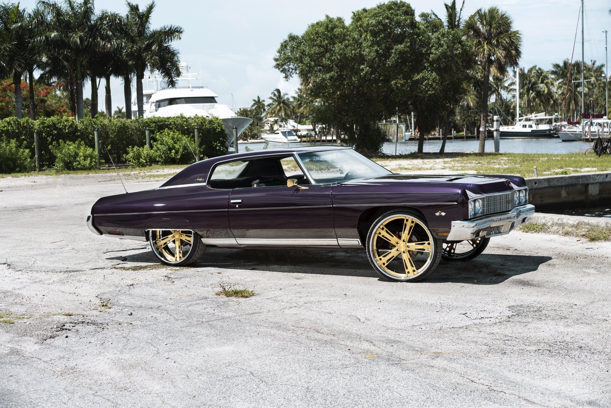 Eggplant Purple Chevy Impala Donk on Gold Wheels — CARiD com