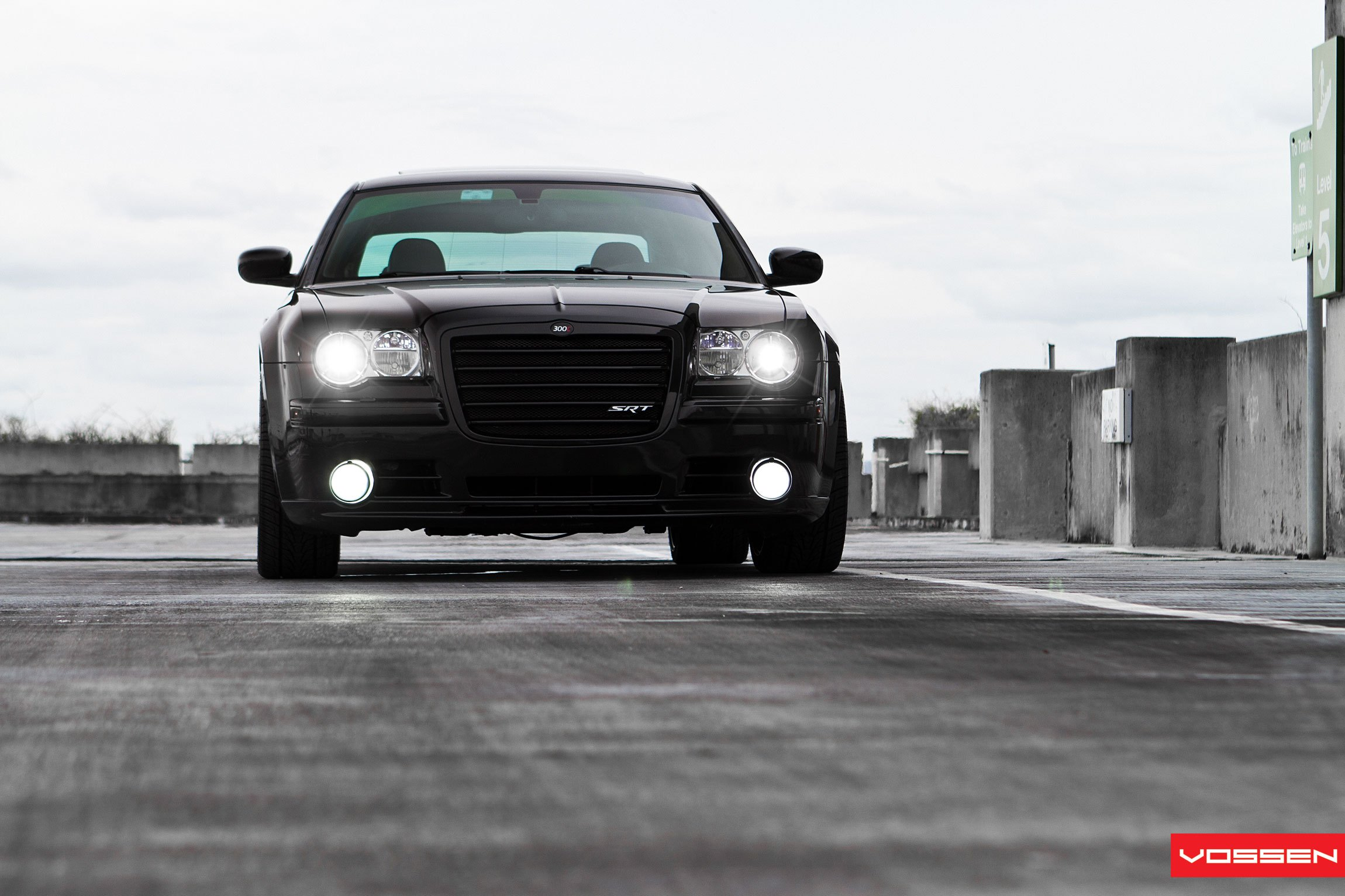 Black Chrysler 300 with Aftermarket LED Headlights - Photo by Vossen