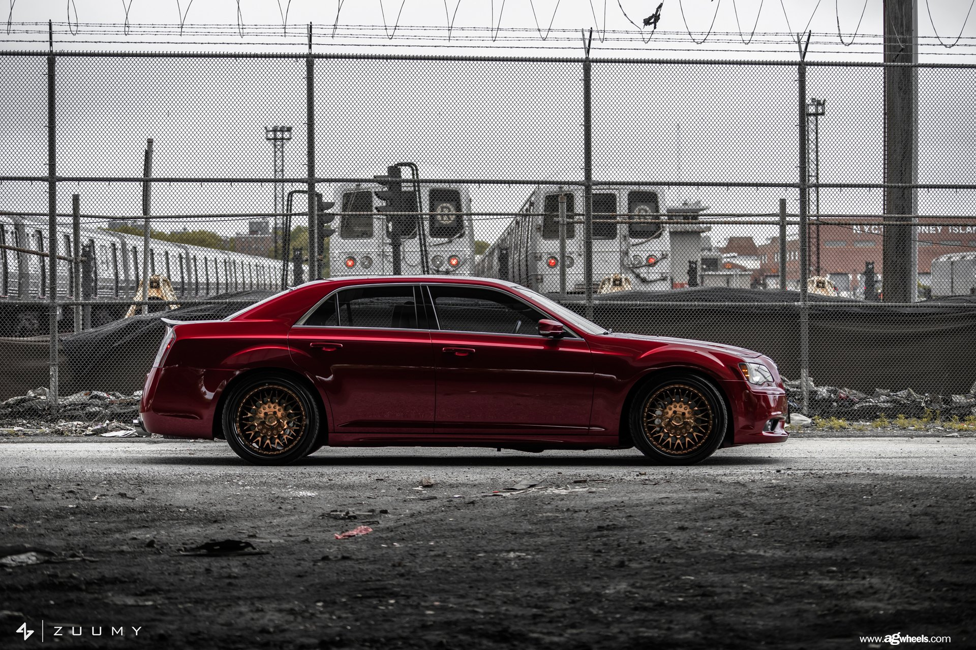 Red Chrysler 300 with Avant Garde Wheels - Photo by Avant Garde Wheels