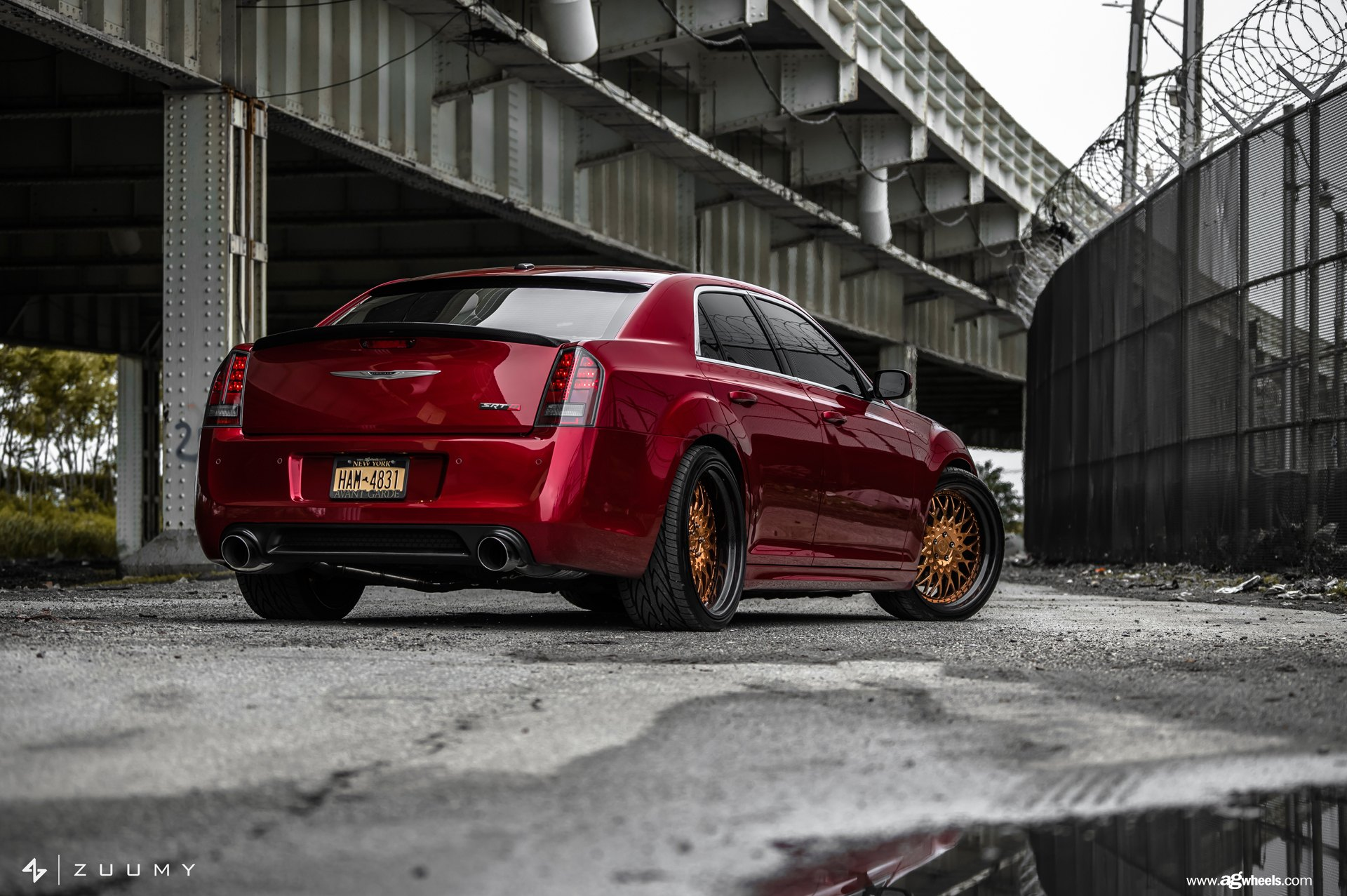Factory Style Rear Spoiler on Red Chrysler 300 - Photo by Avant Garde Wheels