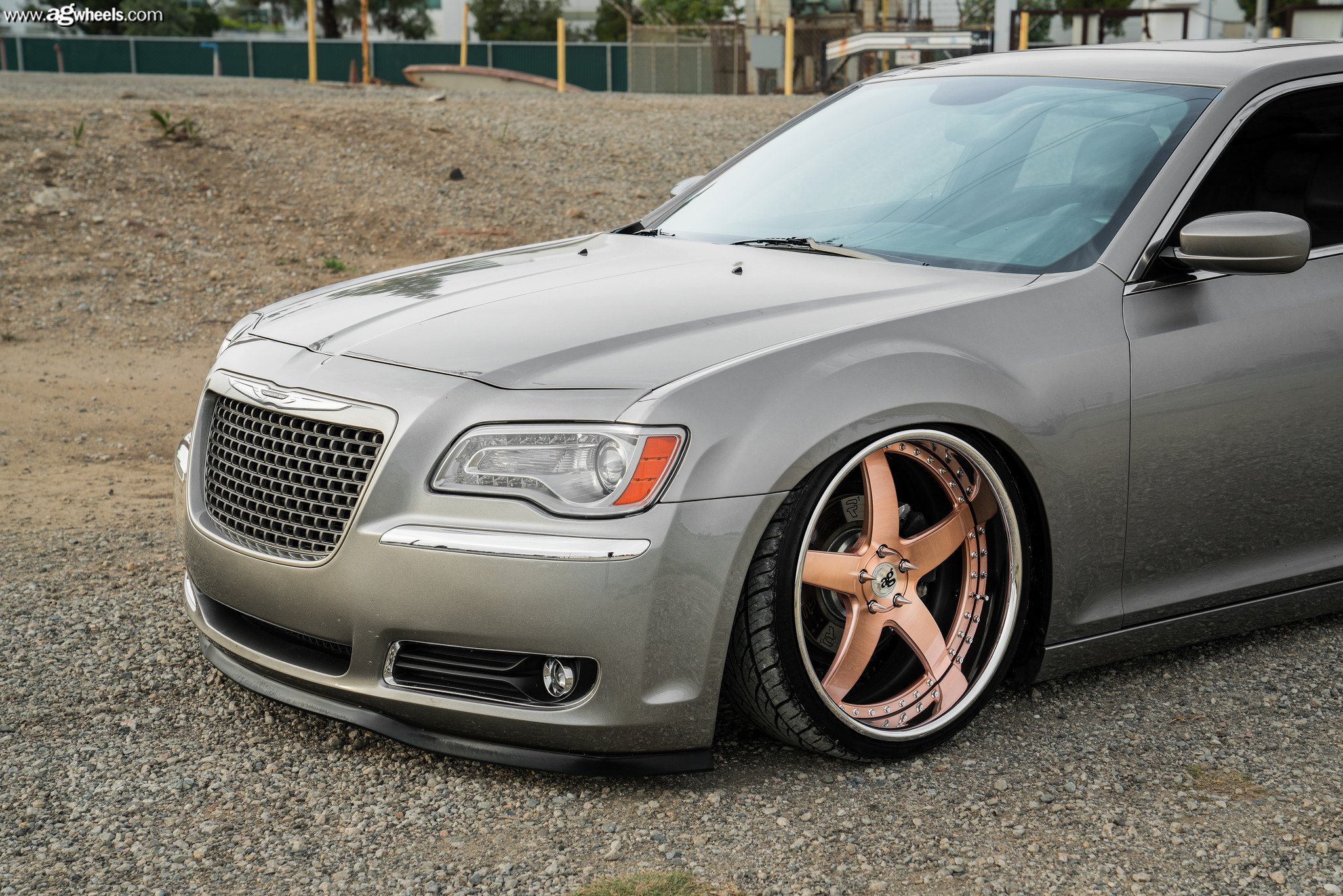 Gray Lowered Chrysler 300 with Custom Headlights - Photo by Avant Garde Wheels