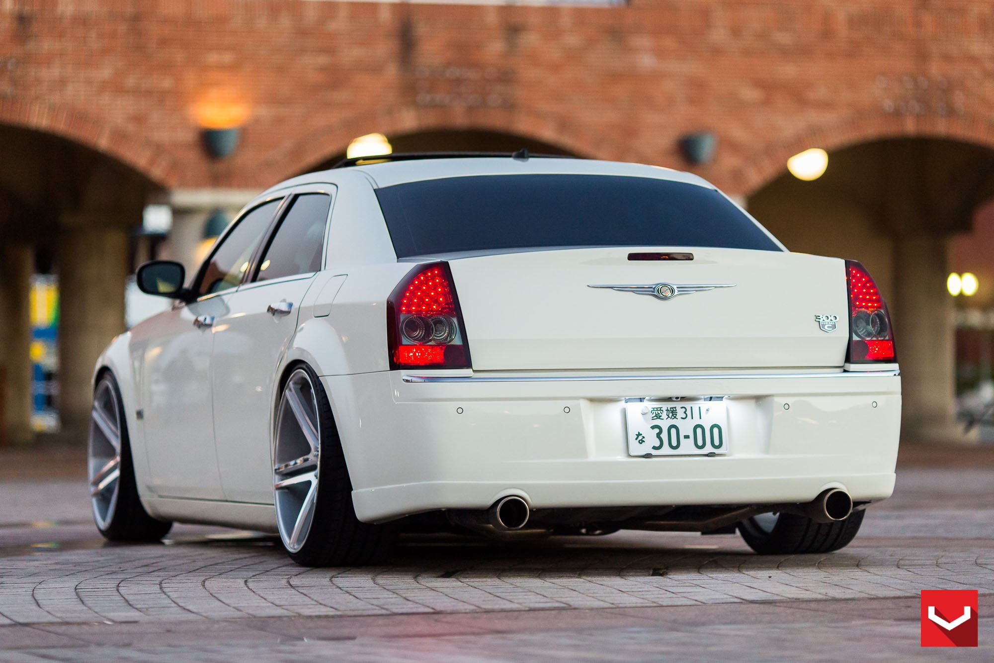 White Chrysler 300 with Custom Exhaust System - Photo by Vossen