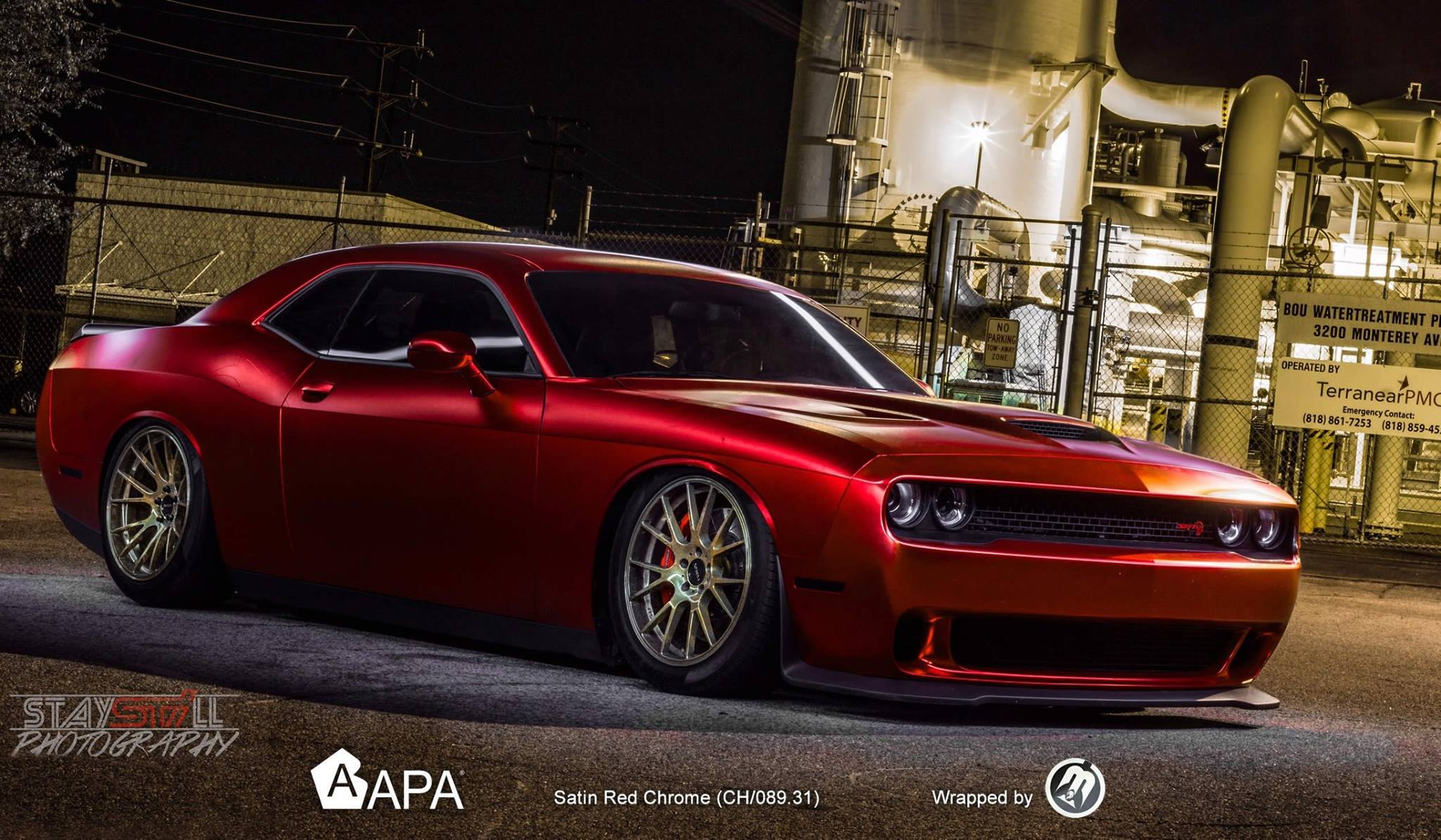 Satin Red Chrome Wrap On A Bagged Dodge Hellcat Carid Com Gallery