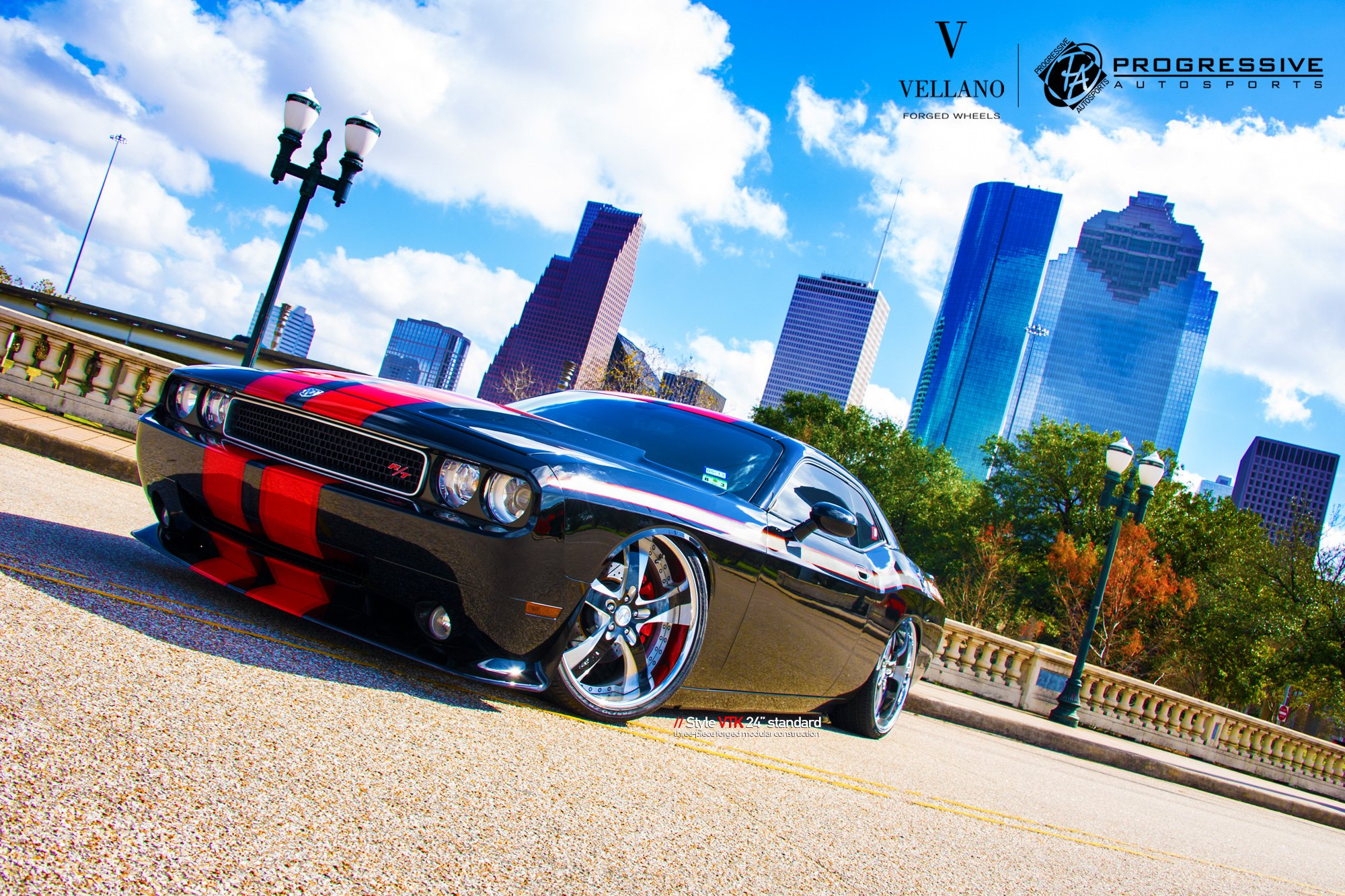 Stance Is Everything Black Slammed Dodge Challenger Rt Featuring