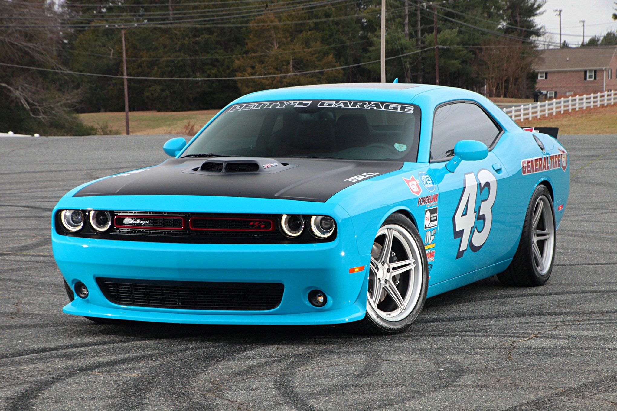 Baby Blue Dodge Challenger Looking Good with Custom Halo Headlights