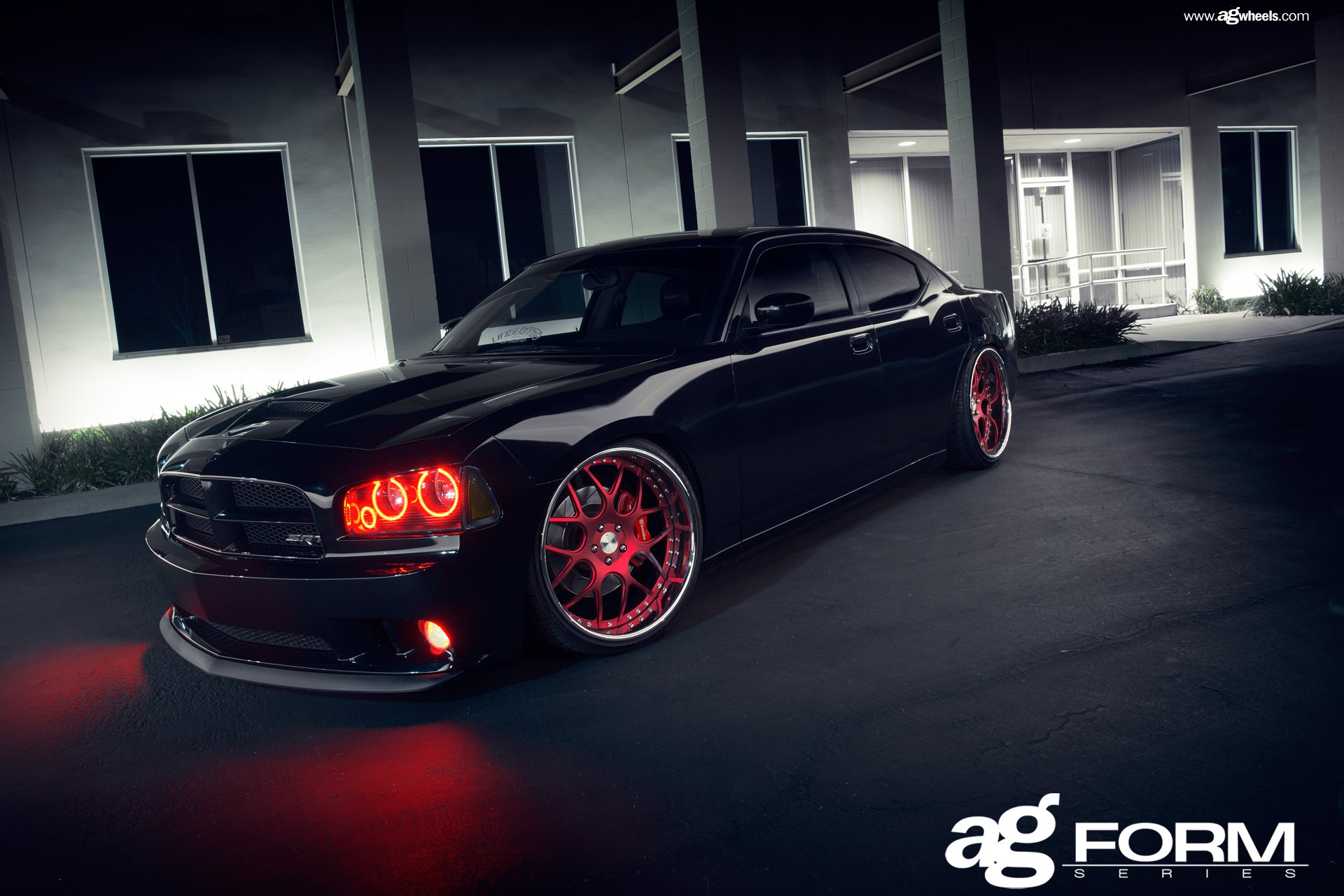 Avant Garde Red Custom Wheels With Polished Lips On Black Charger  U2014 Carid Com Gallery