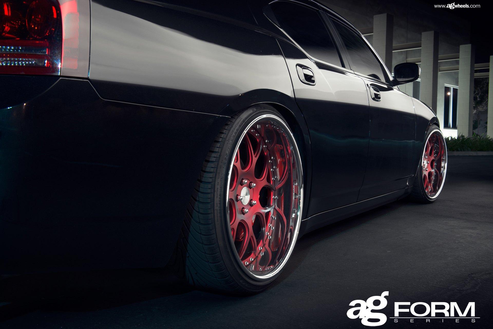 Avant Garde Red Custom Wheels With Polished Lips On Black